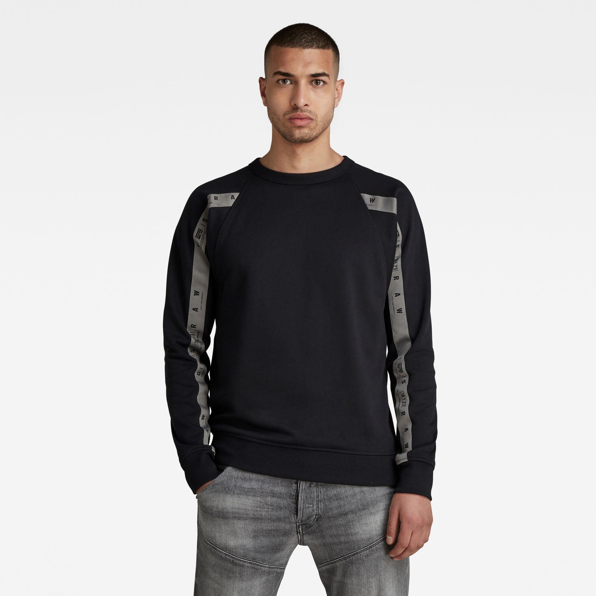 G-Star RAW Heren Raglan Taping Sweater Zwart