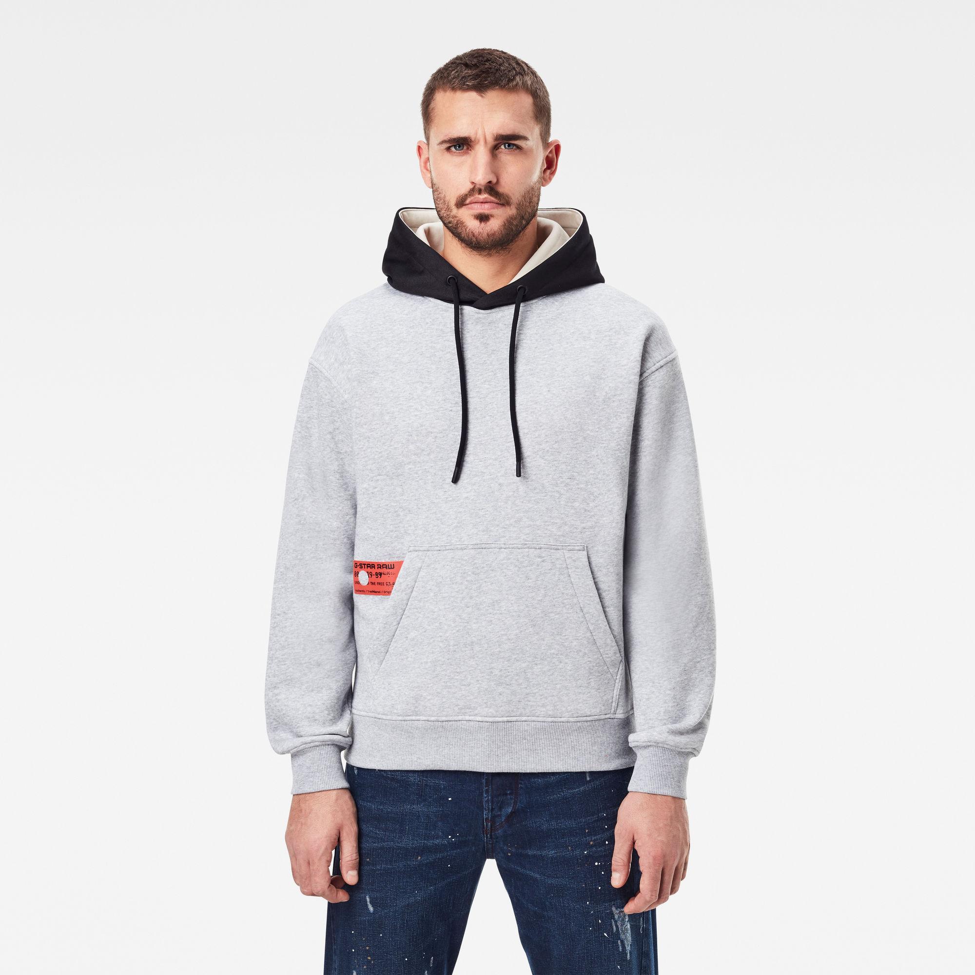 G-Star RAW Heren Contrast Hooded Sweater Grijs
