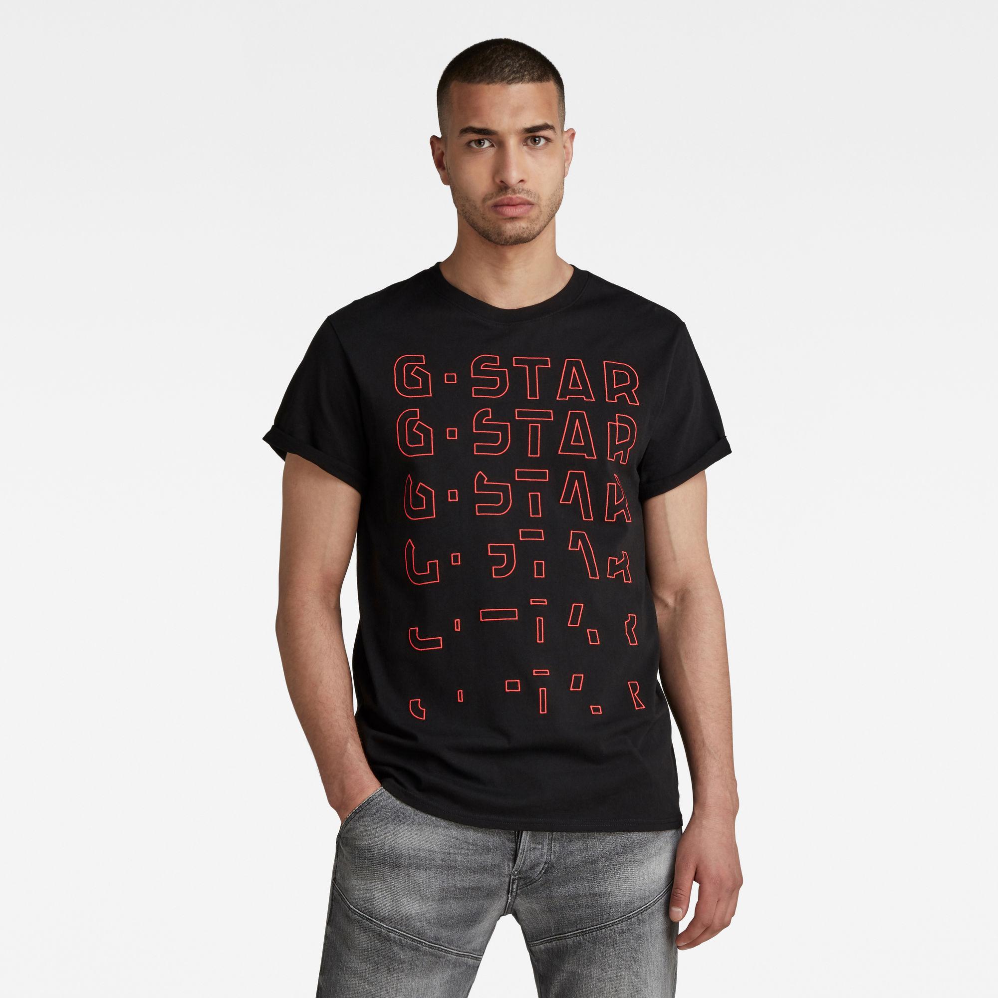 G-Star RAW Heren Embro Gradient Graphic Lash T-Shirt Zwart