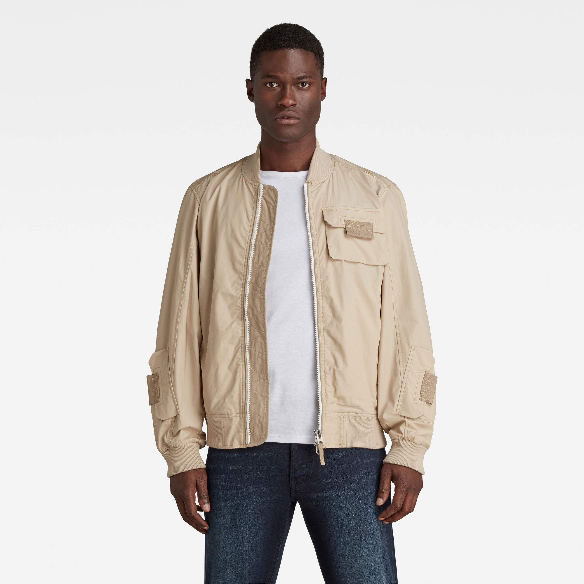 G-Star RAW Hombre Chaqueta Chest Pockets Poplin Bomber Beige