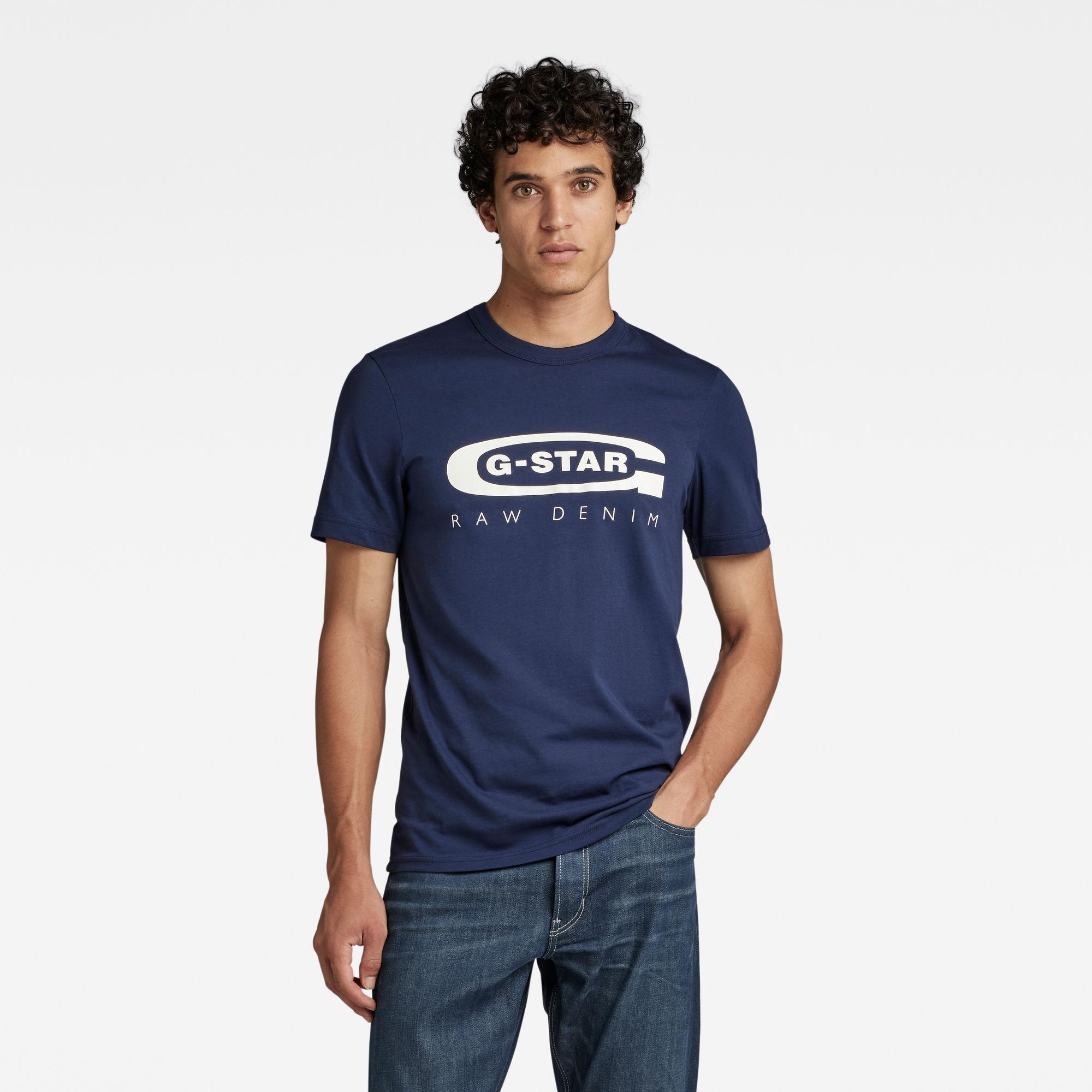 G-Star RAW Heren Graphic 4 T-Shirt Donkerblauw