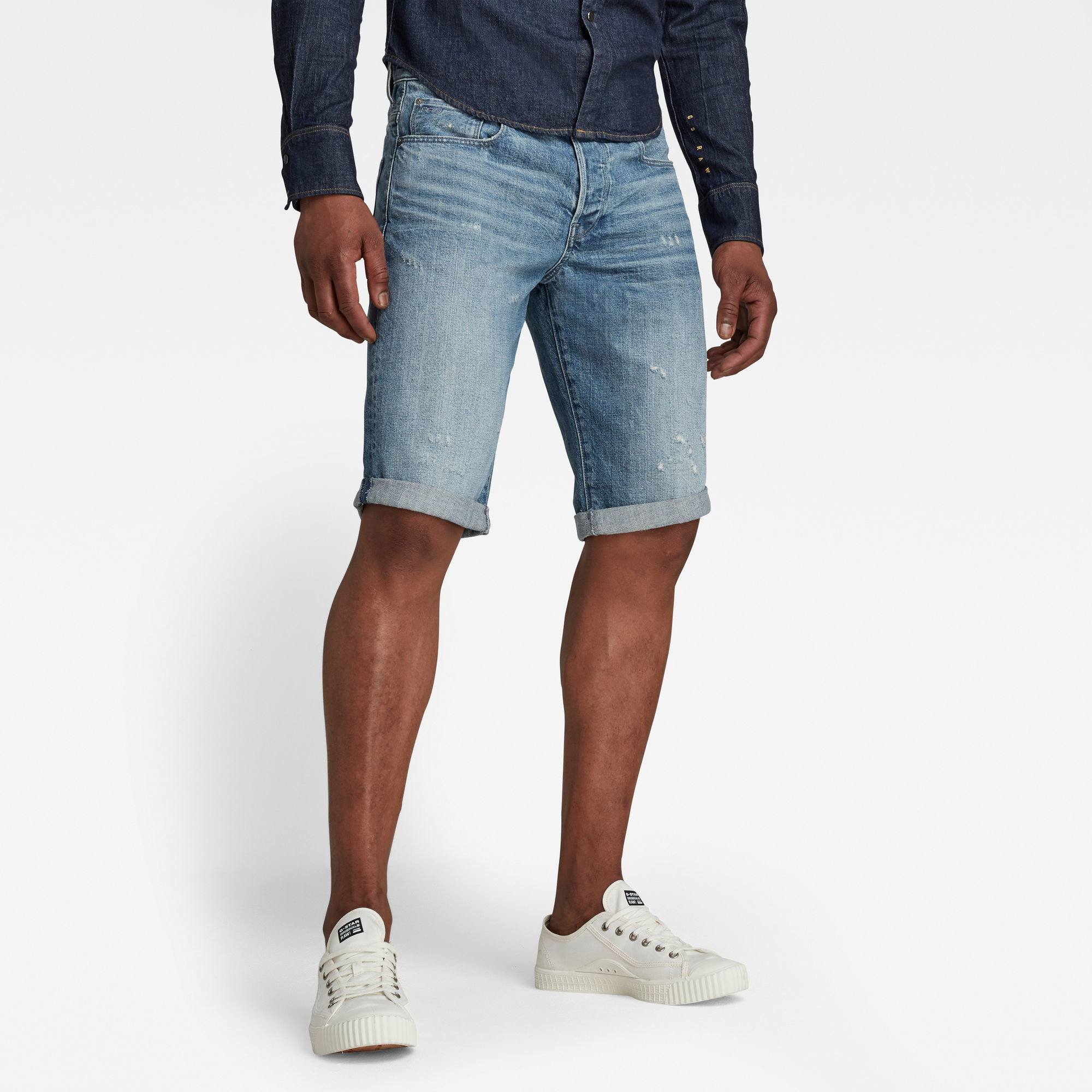 G-Star RAW Heren 3301 Denim Shorts Lichtblauw