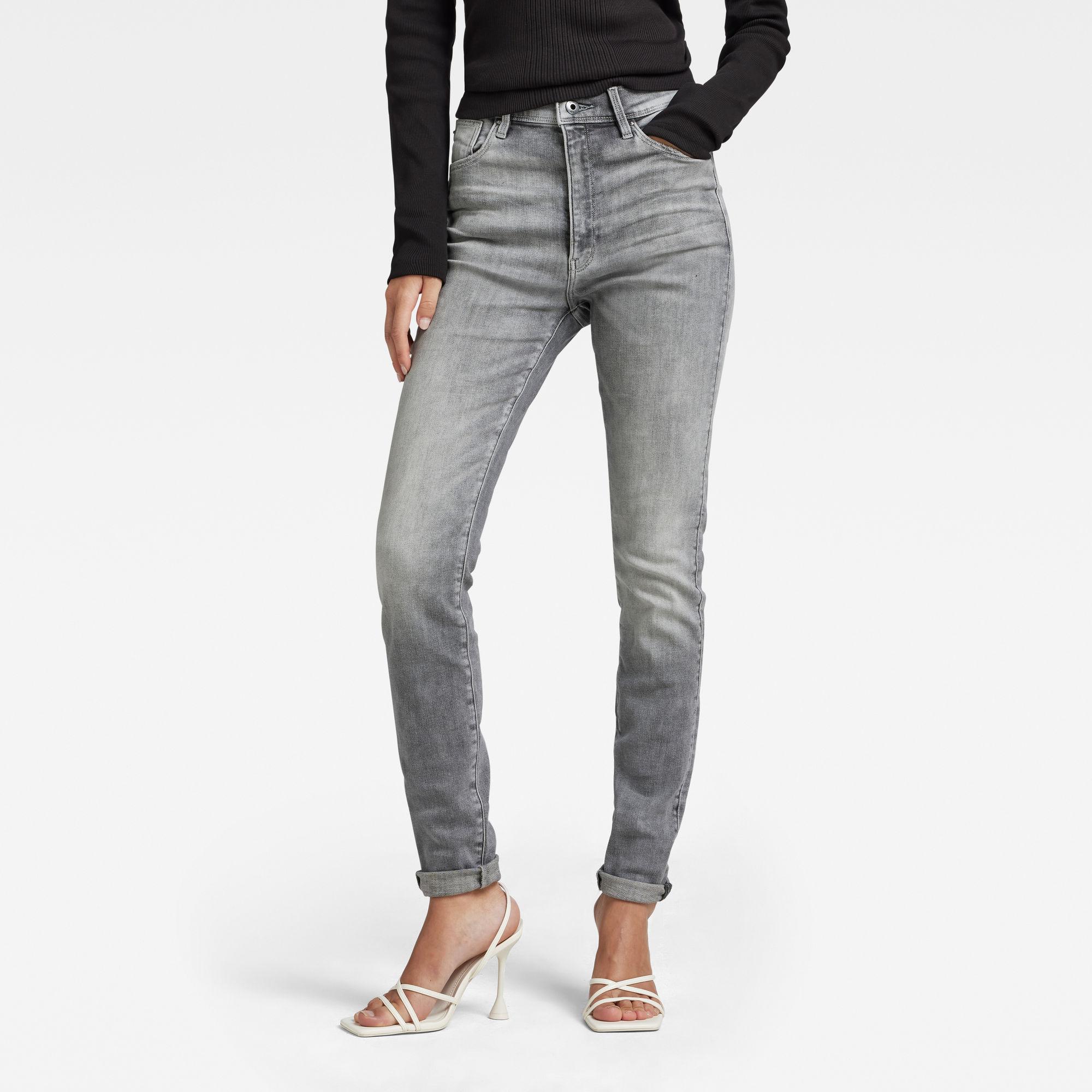 G-Star RAW Dames Kafey Ultra High Skinny Jeans Grijs
