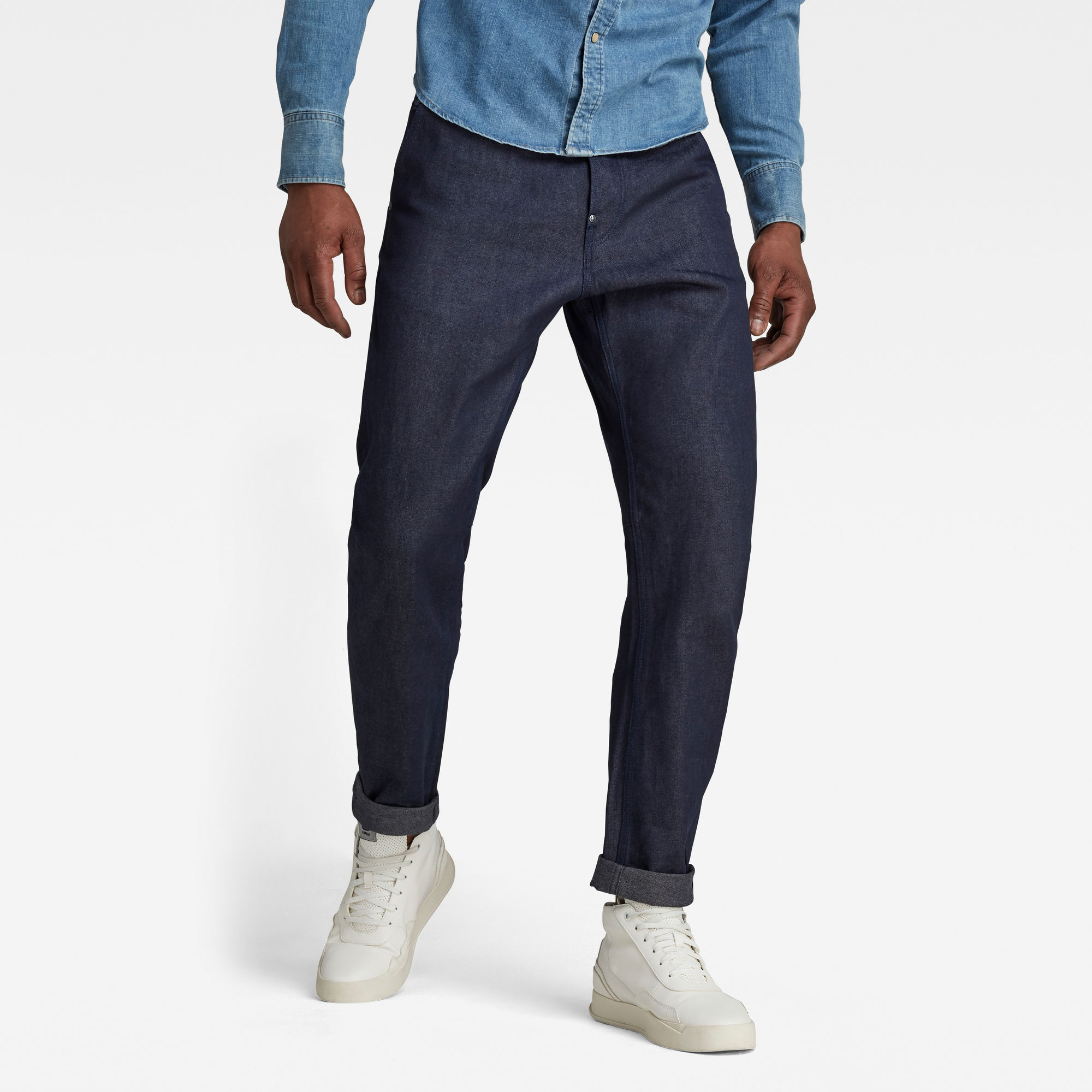 G-Star RAW Heren Grip 3D Relaxed Tapered Jeans Donkerblauw