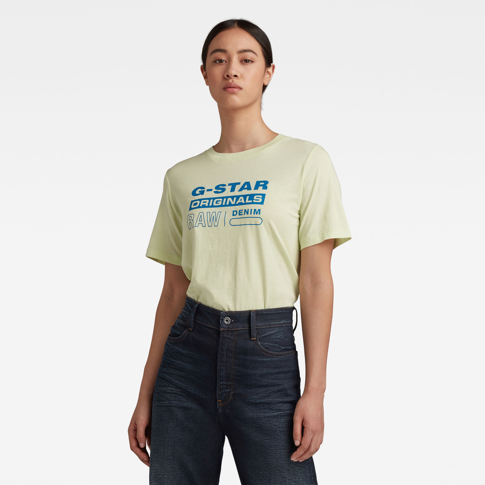 G-Star RAW Dames Originals Label Regular Fit Tee Groen