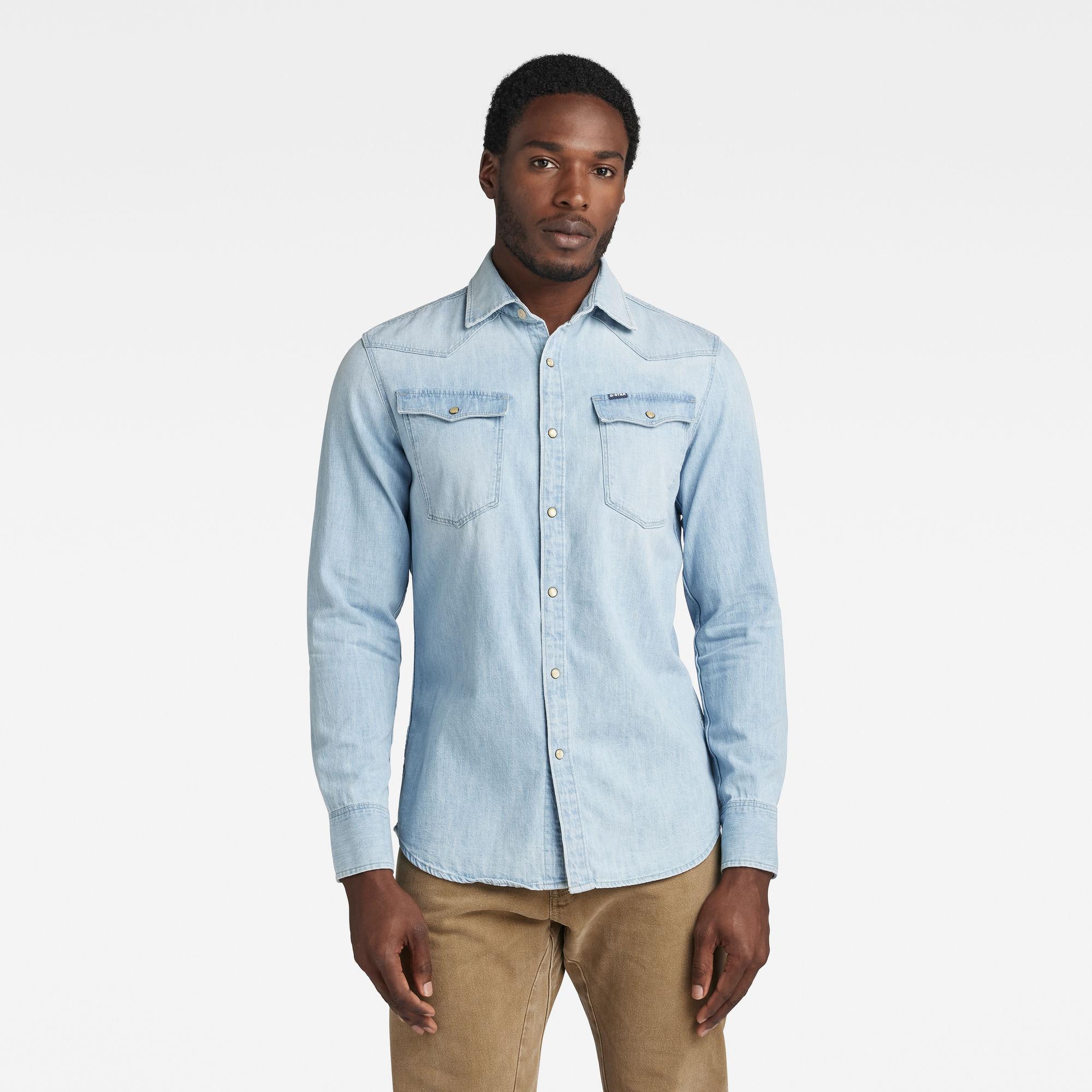 G-Star RAW Heren 3301 Slim Shirt Lichtblauw
