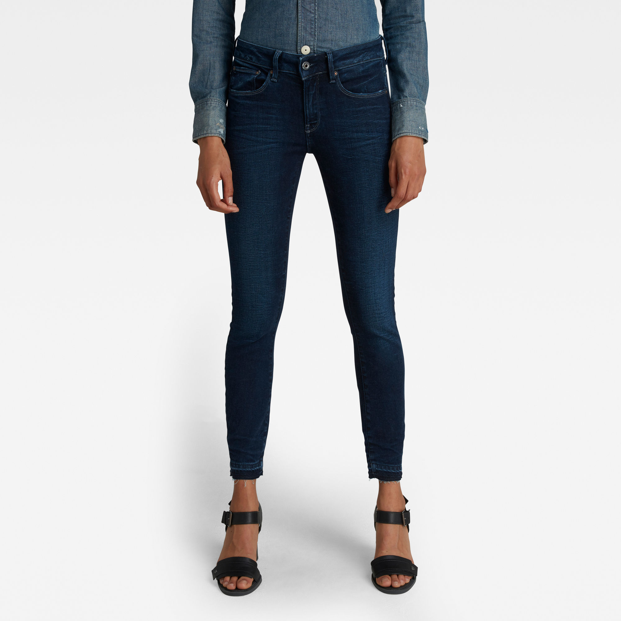 G-Star RAW Dames 3301 Mid Skinny Ankle Jeans Donkerblauw