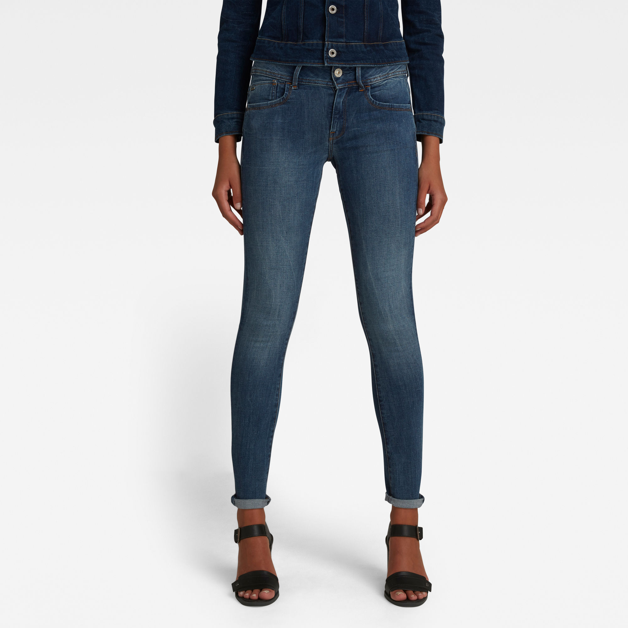 G-Star RAW Dames Lynn D-Mid Waist Super Skinny Jeans Blauw
