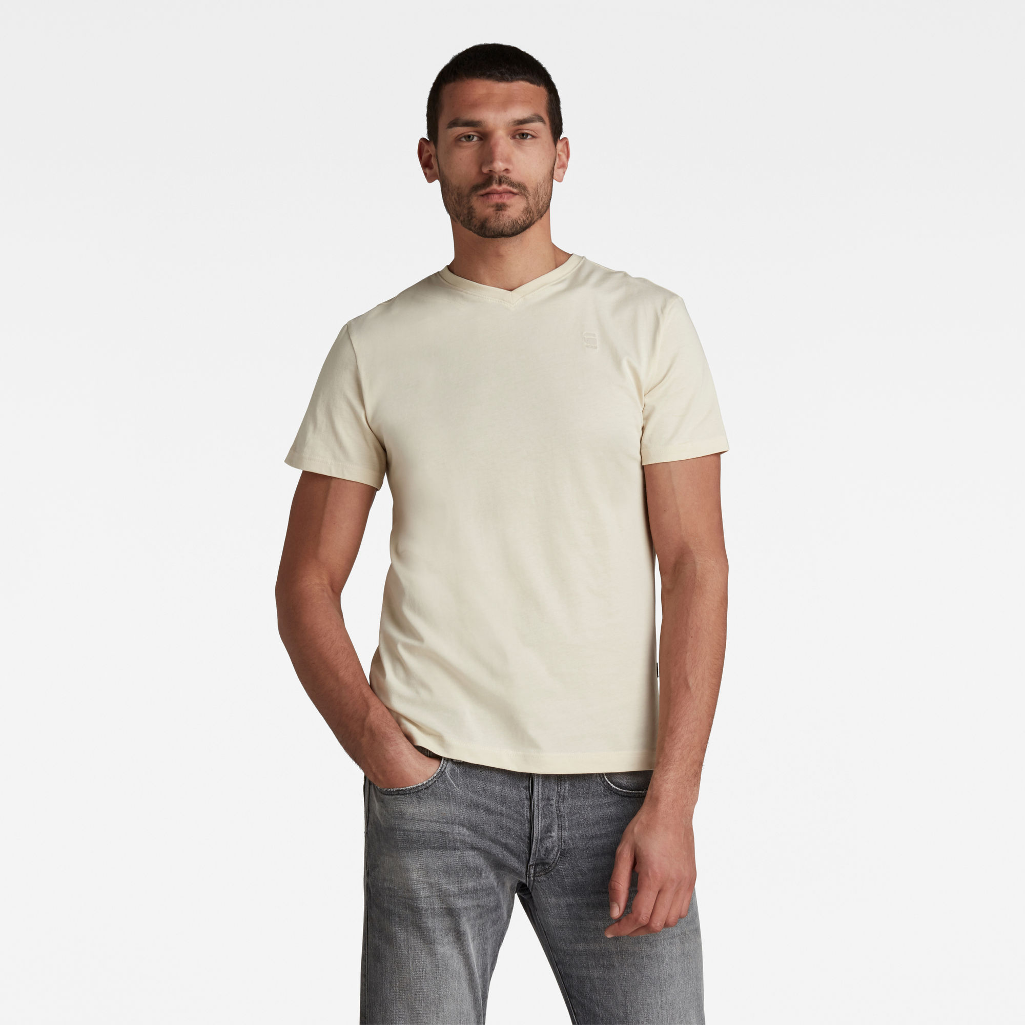 G-Star RAW Hombre Camiseta Base-S Beige