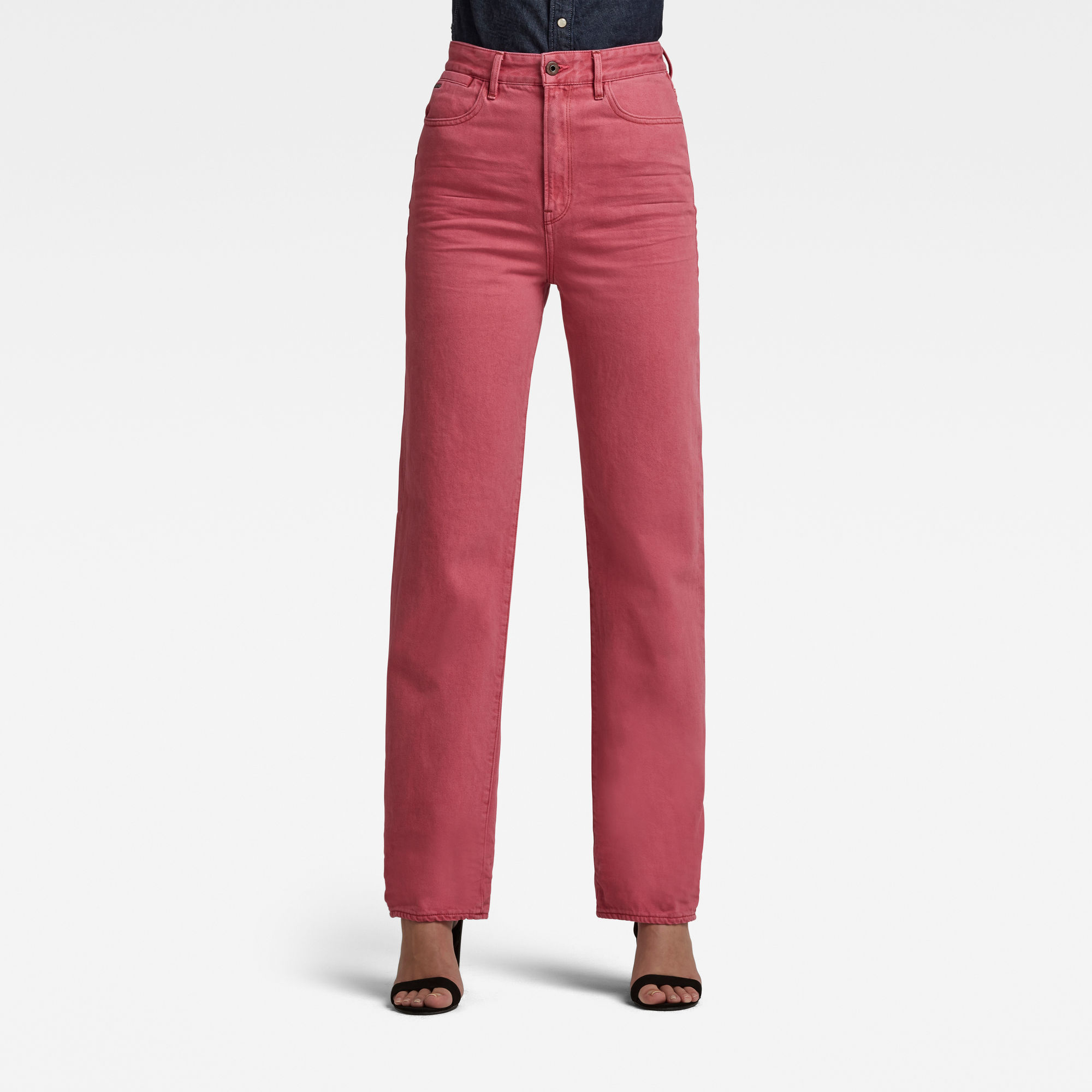 G-Star RAW Dames Tedie Ultra High Long Straight Jeans Roze