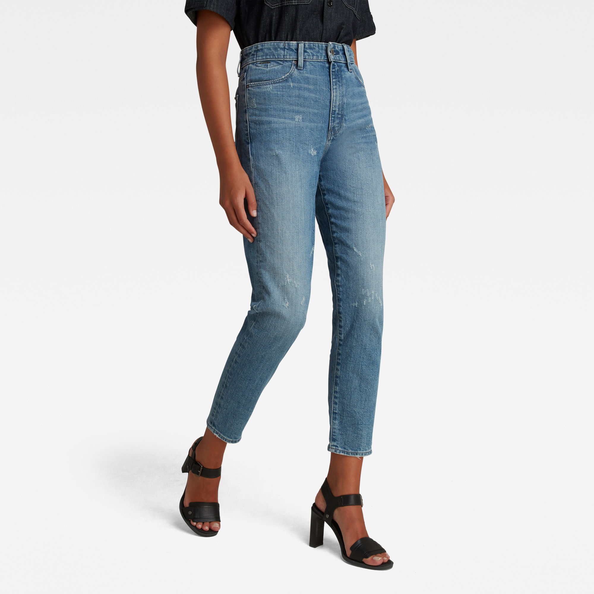 G-Star RAW Dames Janeh Ultra High Mom Ankle Jeans Lichtblauw