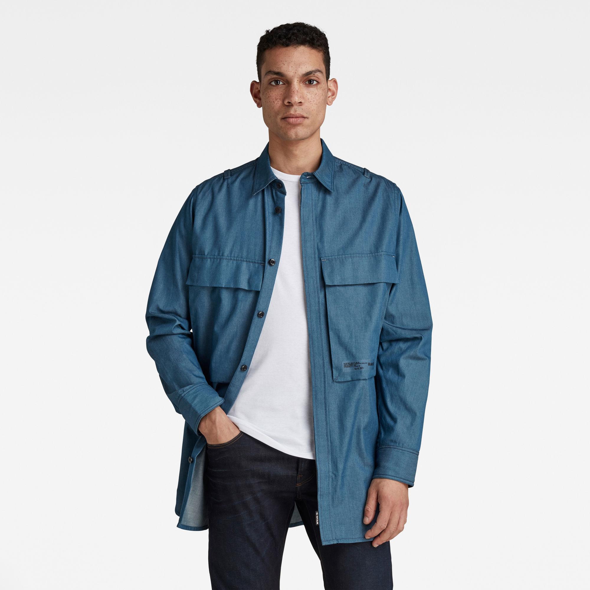 G-Star RAW Heren GSRR Regular Long Shirt Donkerblauw