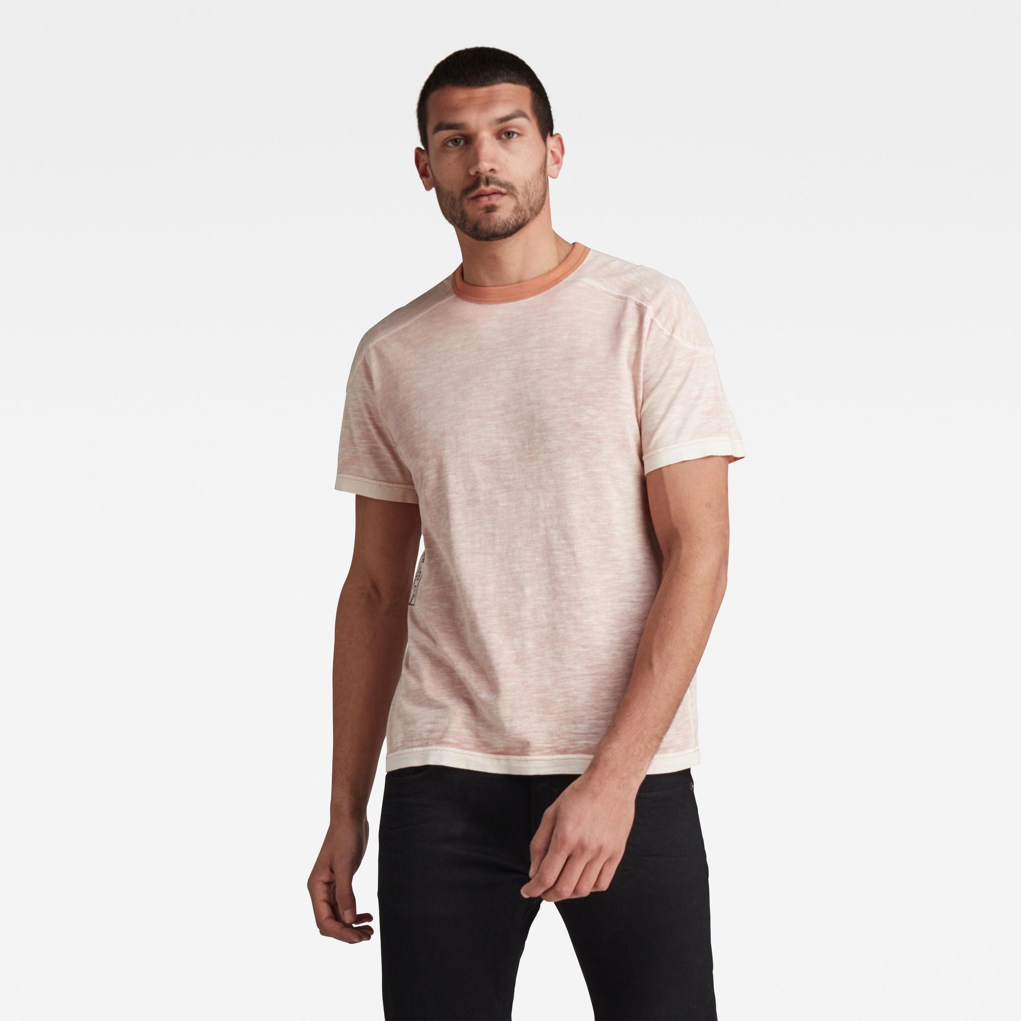G-Star RAW Heren Rugby Spray Loose T-Shirt Roze