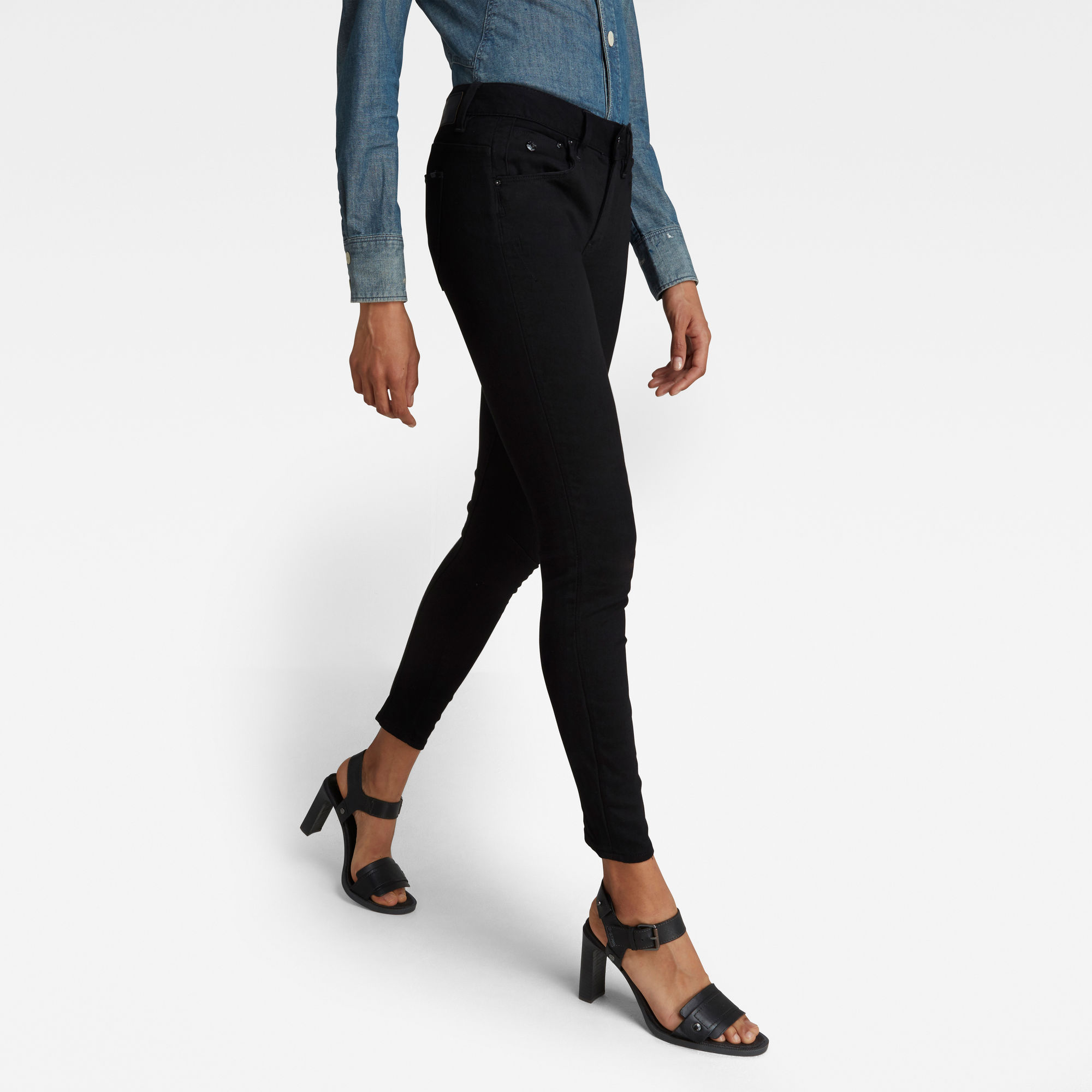 G-Star RAW Dames Arc 3D Mid Skinny Jeans Zwart