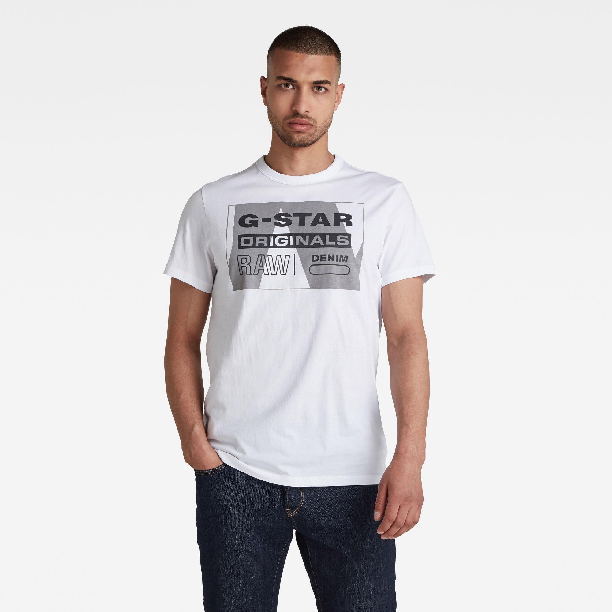 G-Star RAW Heren Layer Originals Logo GR T-Shirt Wit