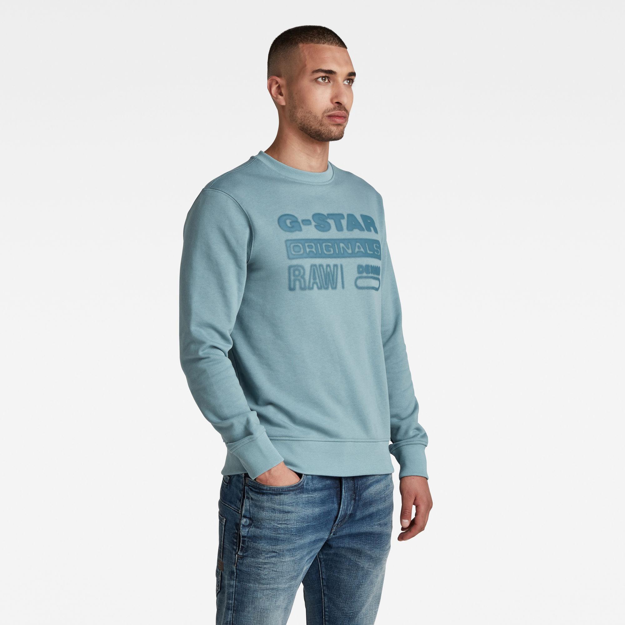 G-Star RAW Heren Originals Logo Sweater Grijs