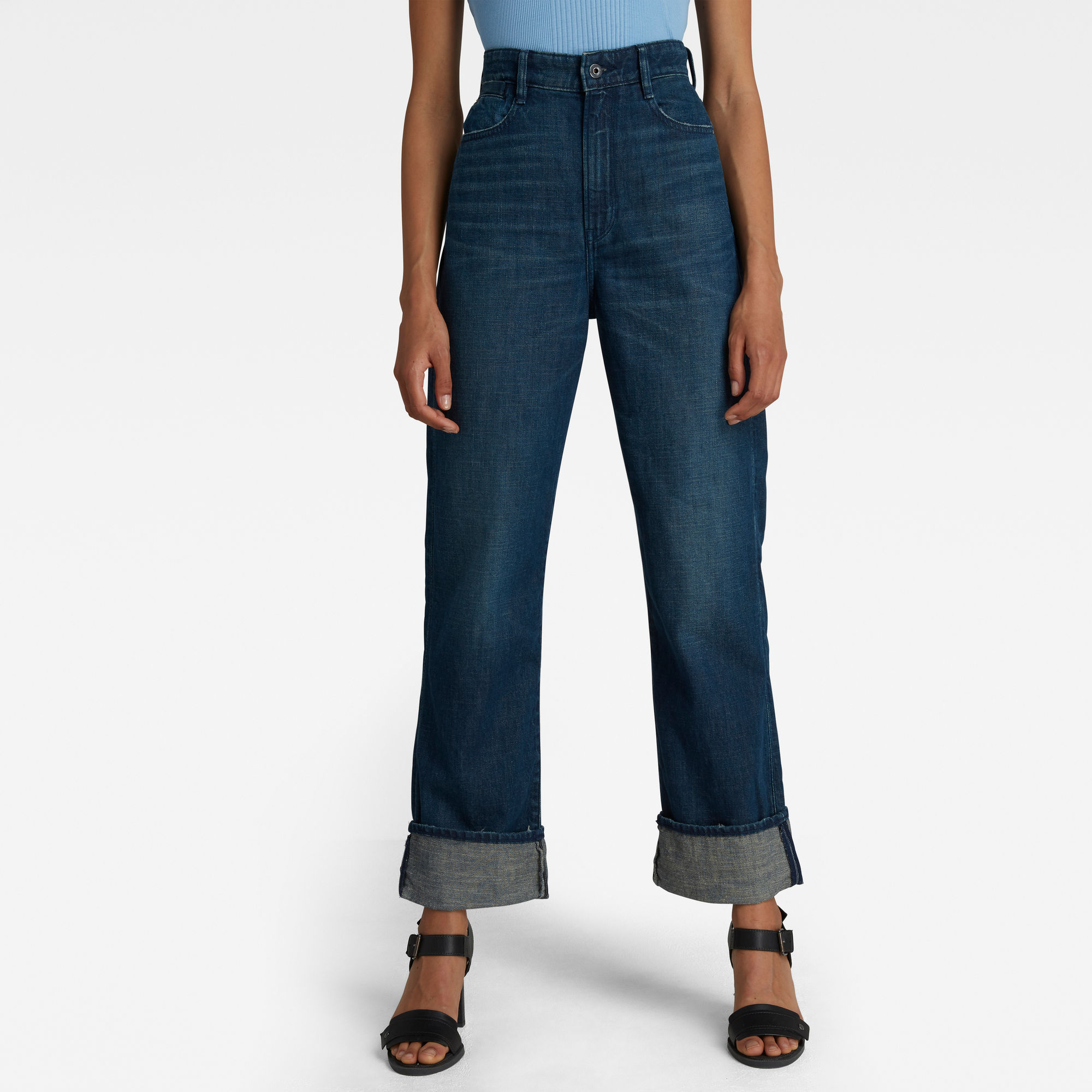 G-Star RAW Dames Tedie Ultra High Straight Jeans Donkerblauw