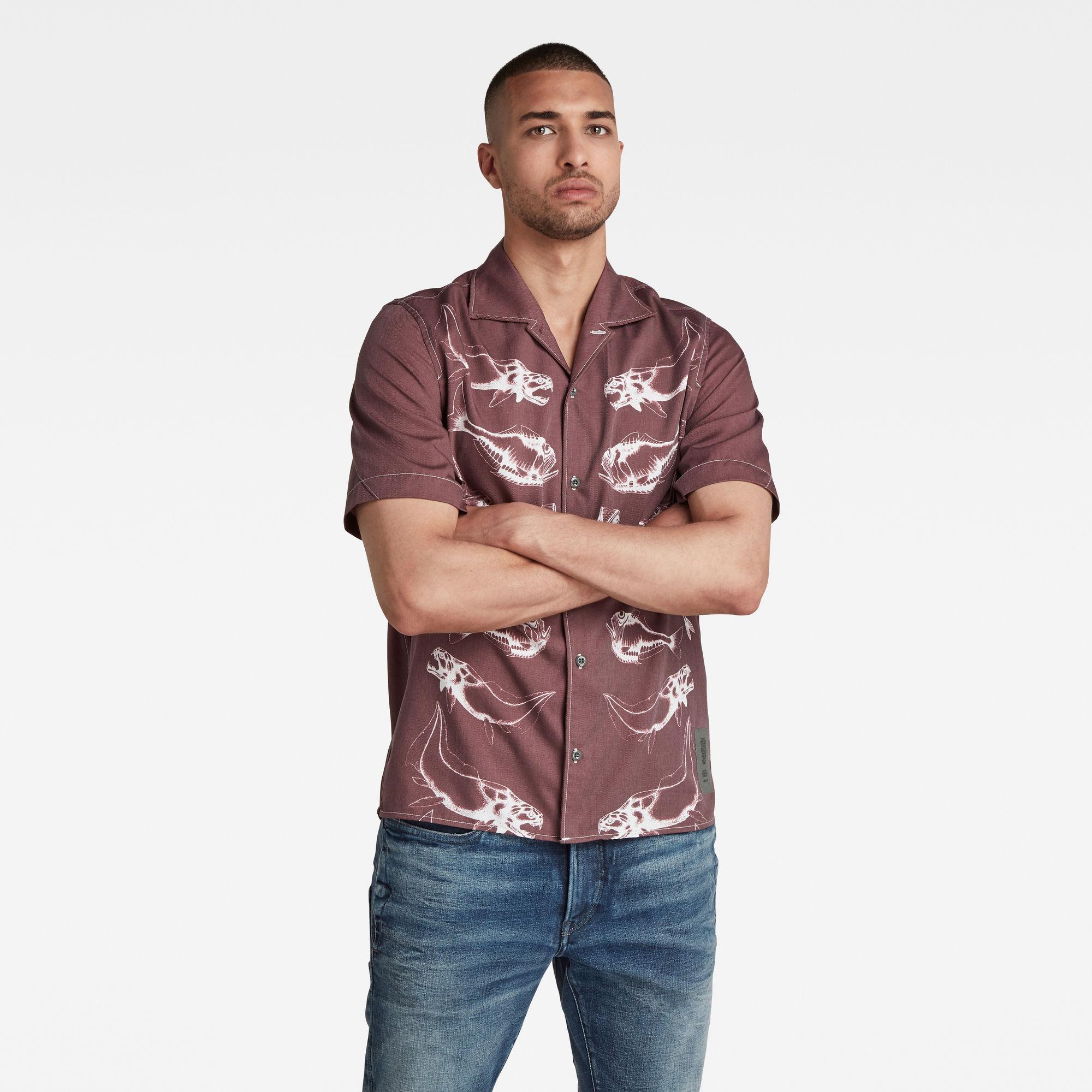 G-Star RAW Heren Hawaiian Service Regular Shirt Paars