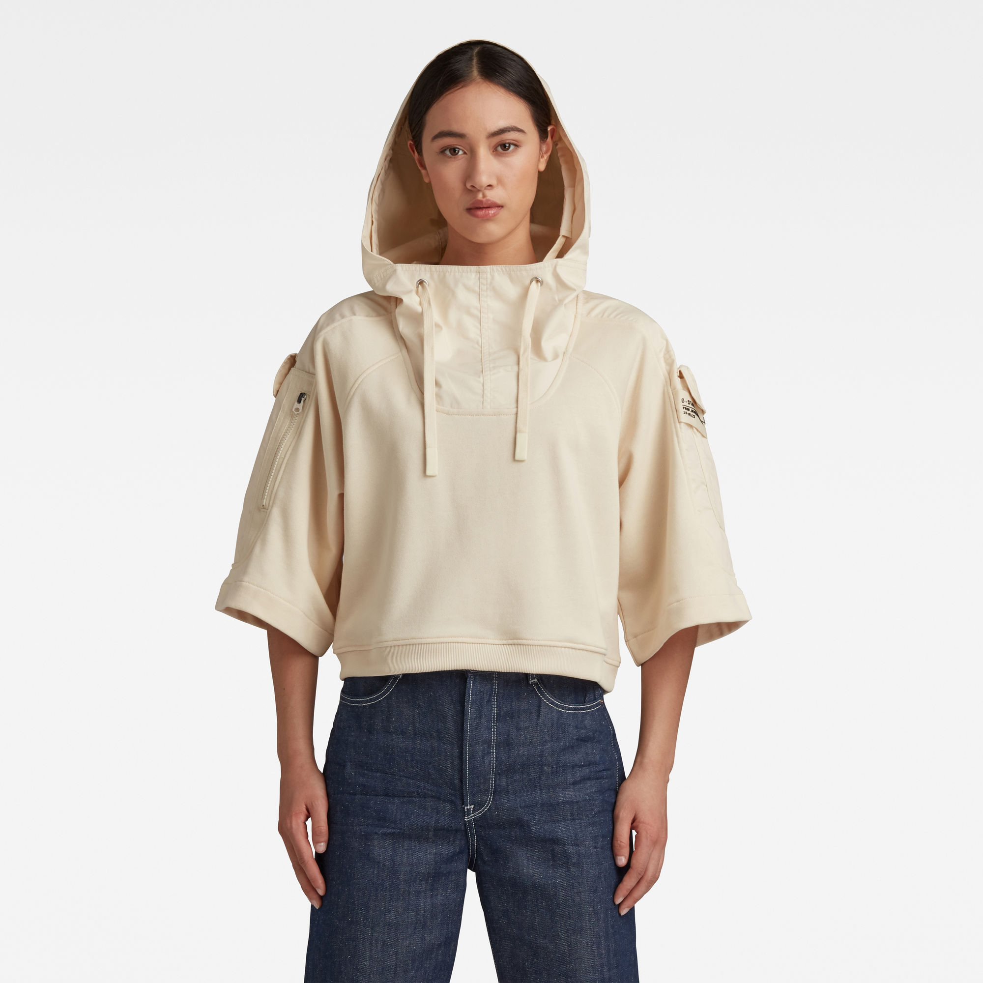 G-Star RAW Dames Cropped Woven Mix Hoodie Beige