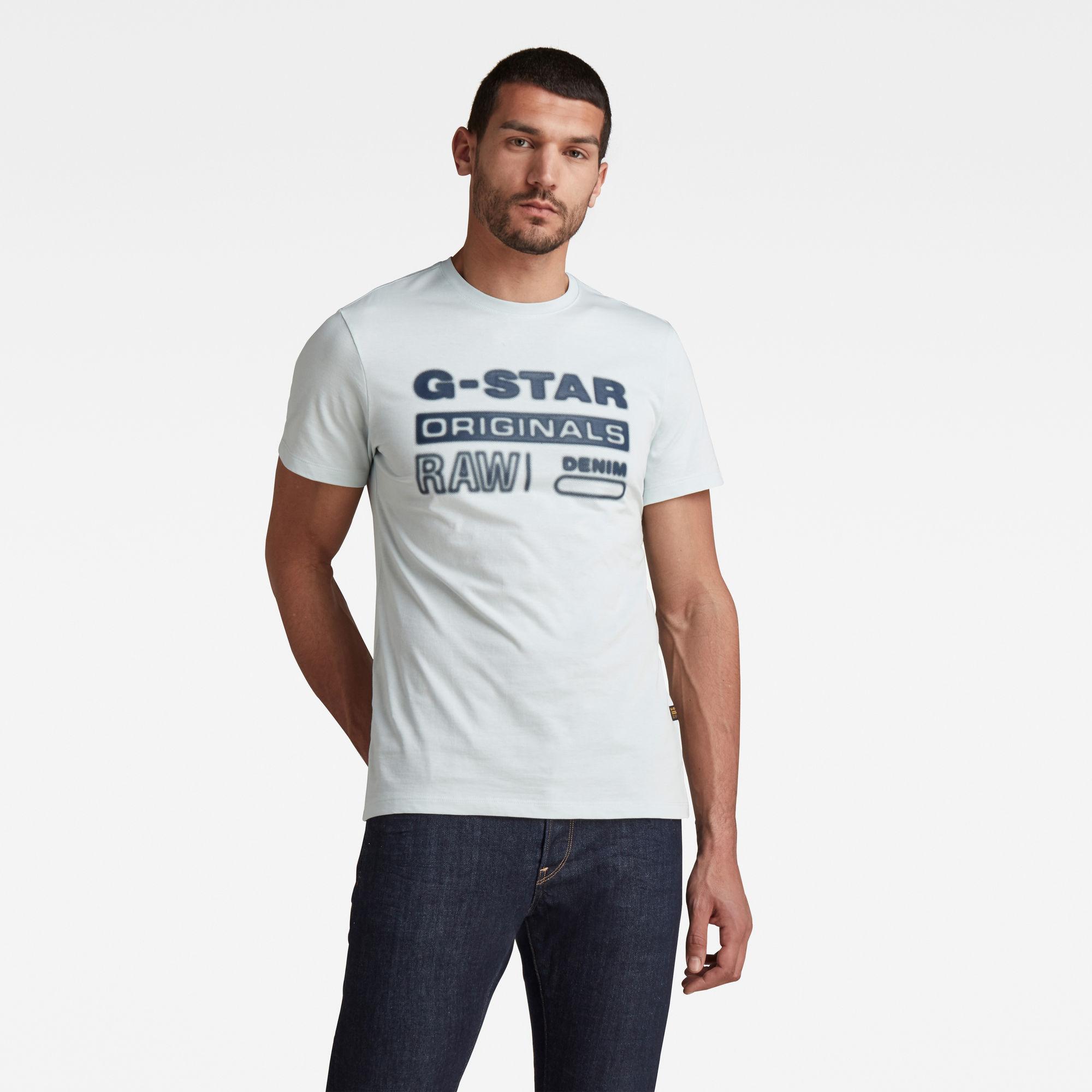 G-Star RAW Heren Originals HD Graphic T-Shirt Lichtblauw