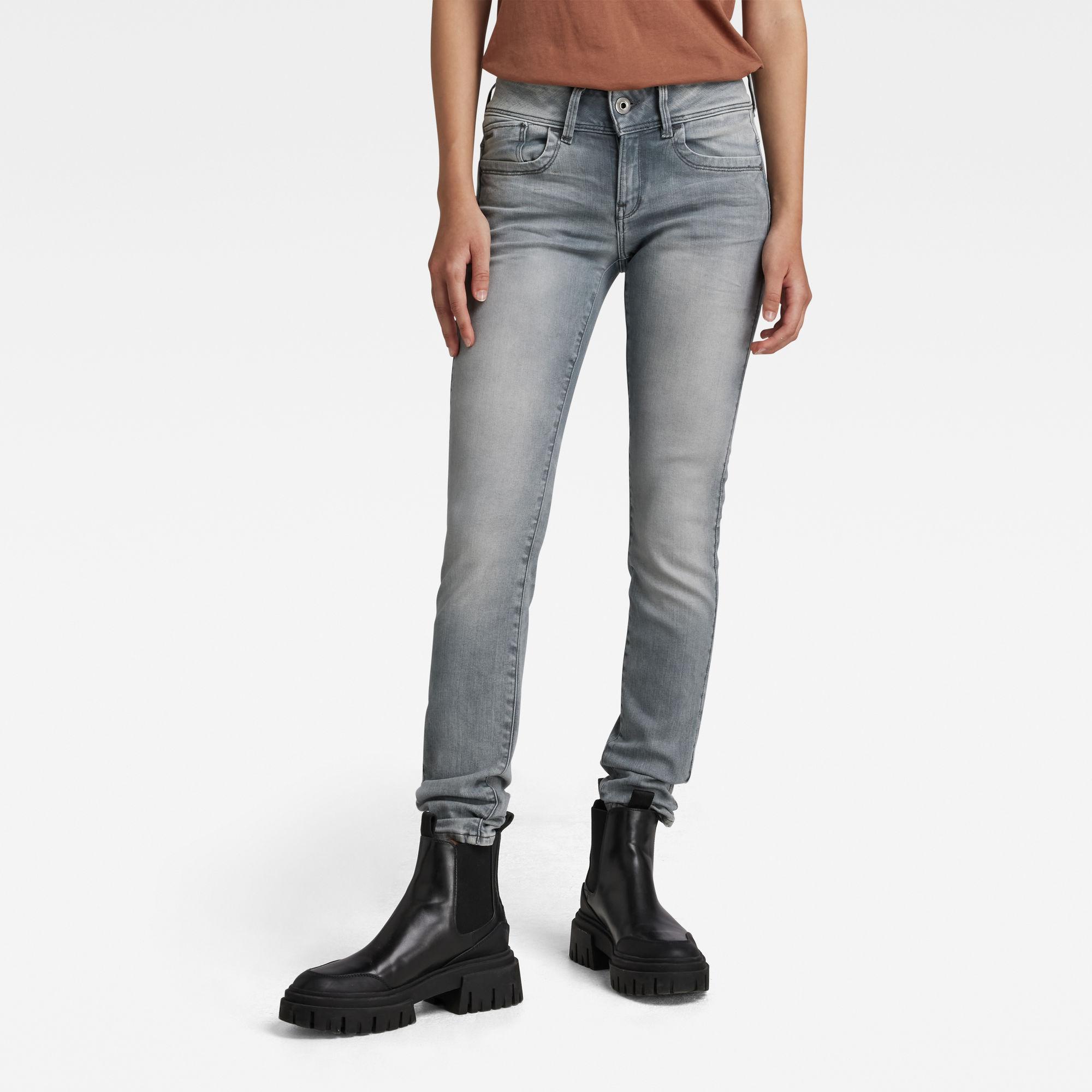 G-Star RAW Dames Lynn Mid Waist Skinny Jeans Grijs