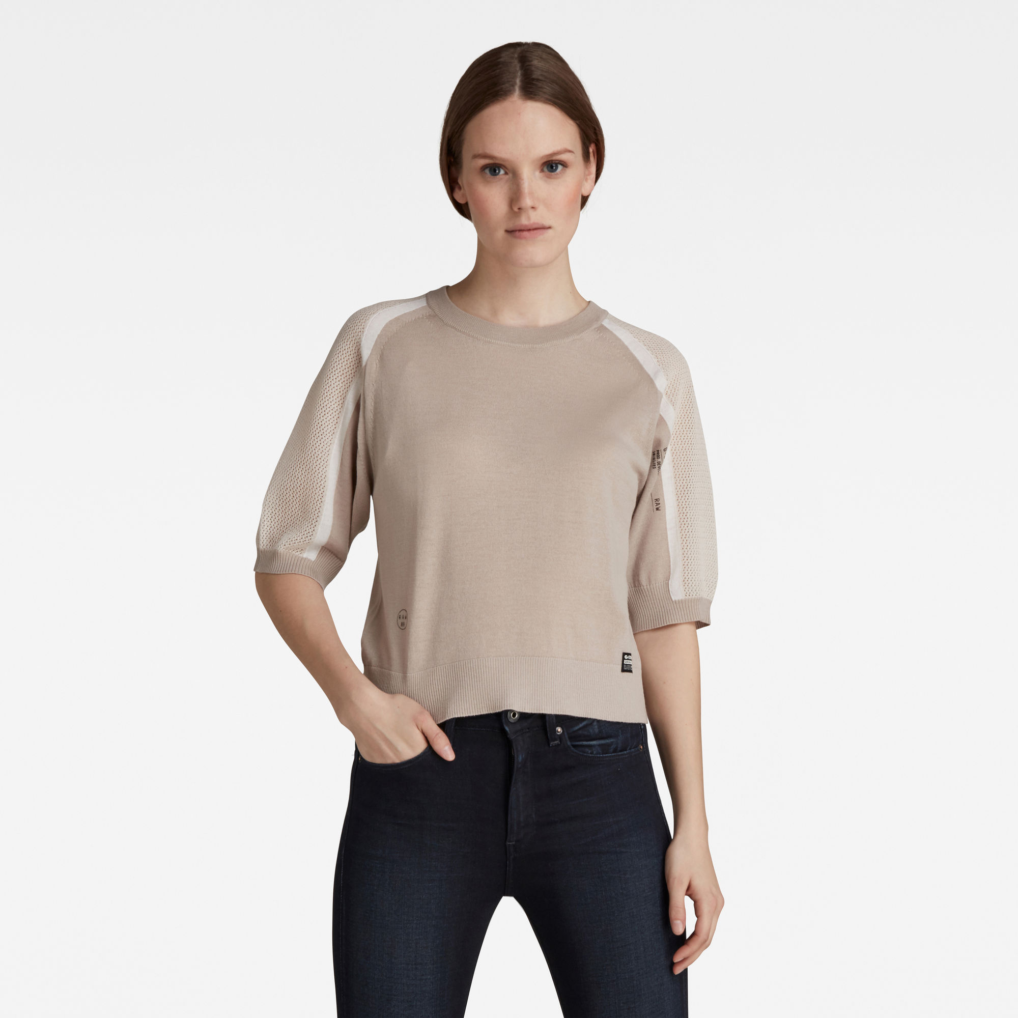 G-Star RAW Dames Mesh Insert Sweater Beige