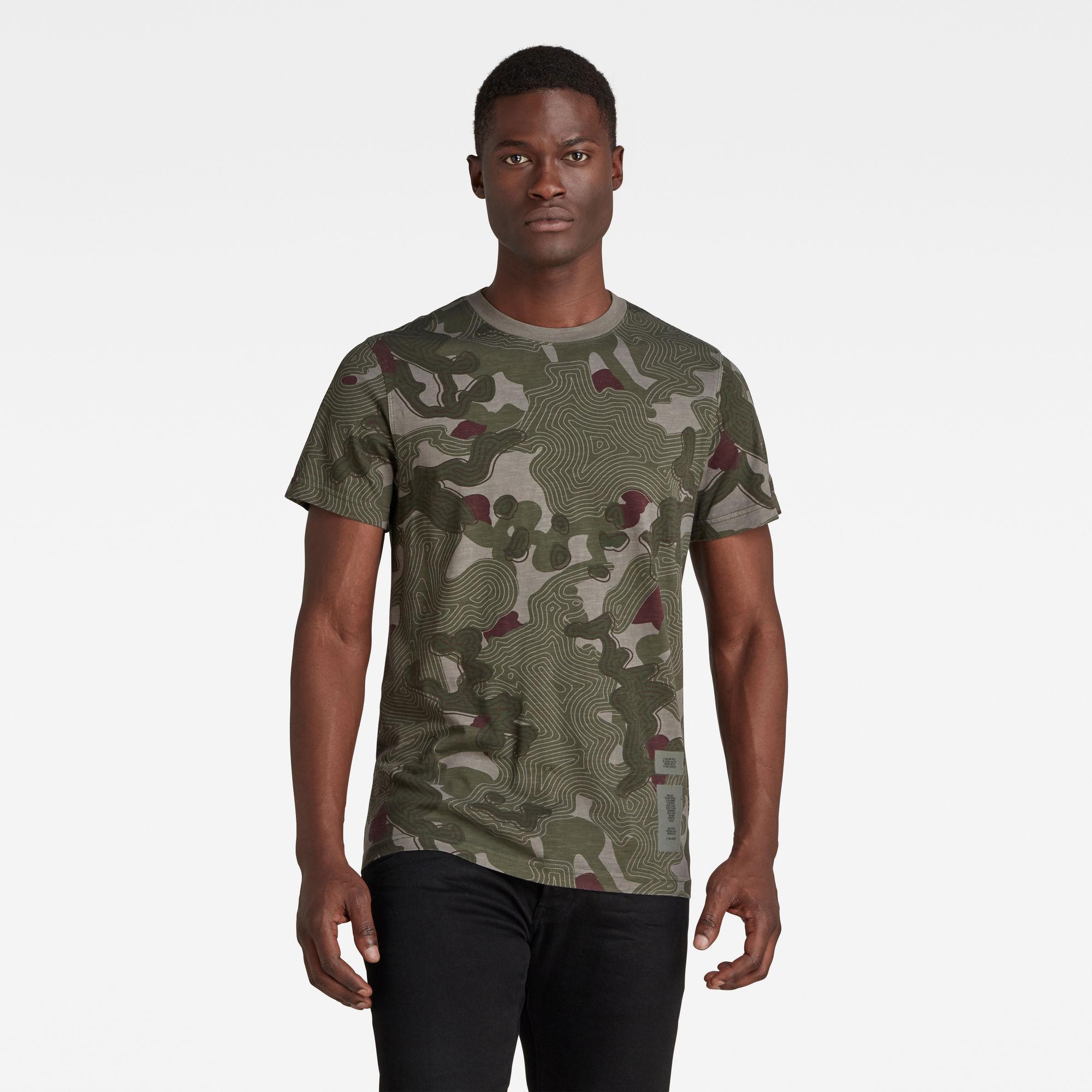G-Star RAW Heren Blur Camo Allover T-Shirt Meerkleurig