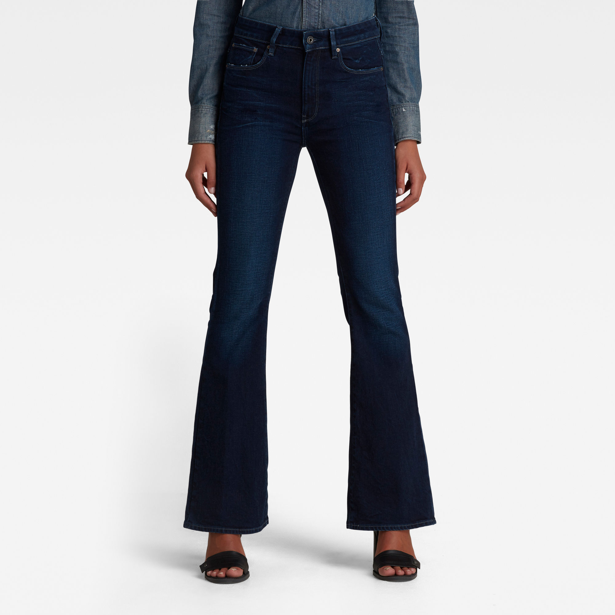 G-Star RAW Dames 3301 Flare Jeans Donkerblauw
