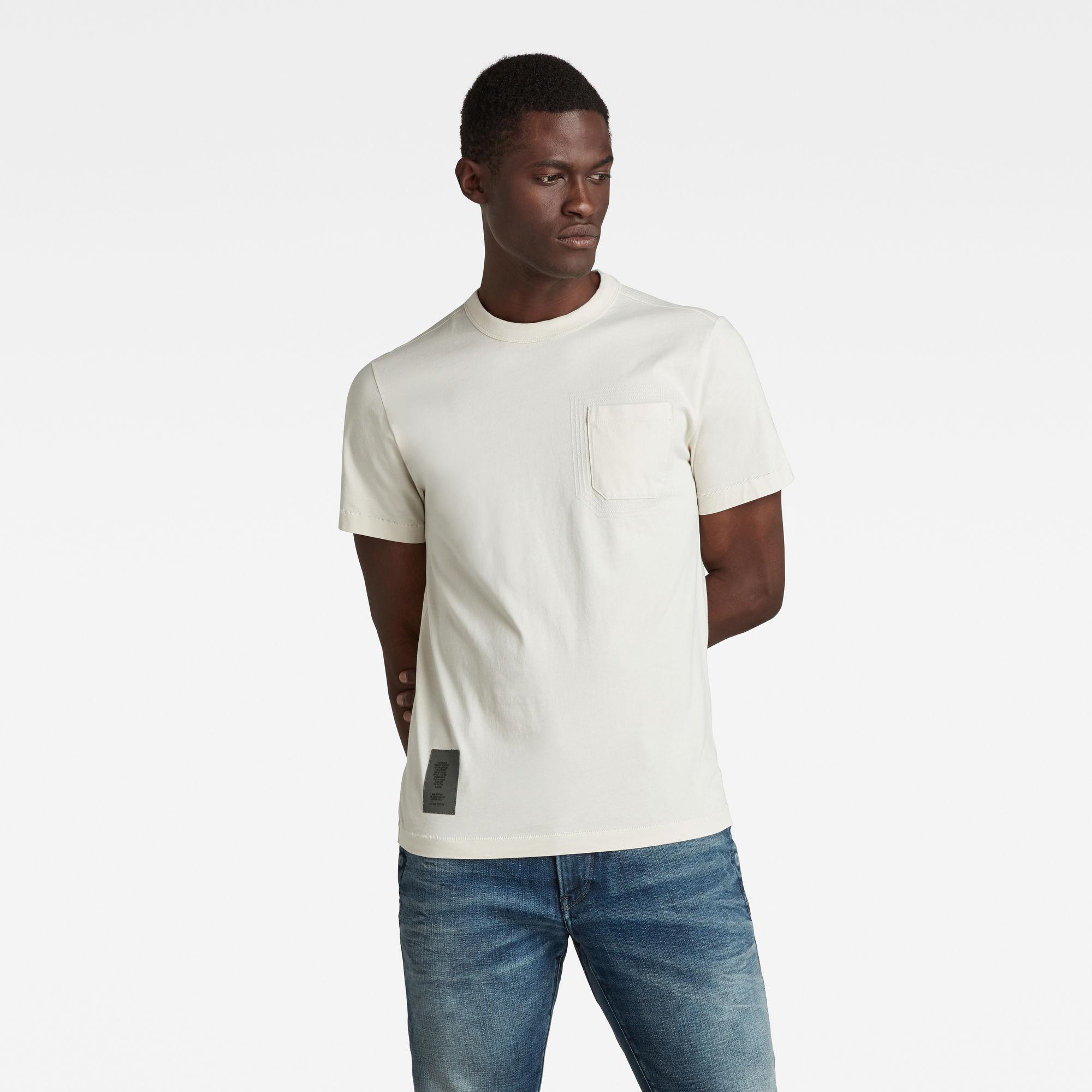 G-Star RAW Heren Stitch Detail Pocket T-Shirt Beige