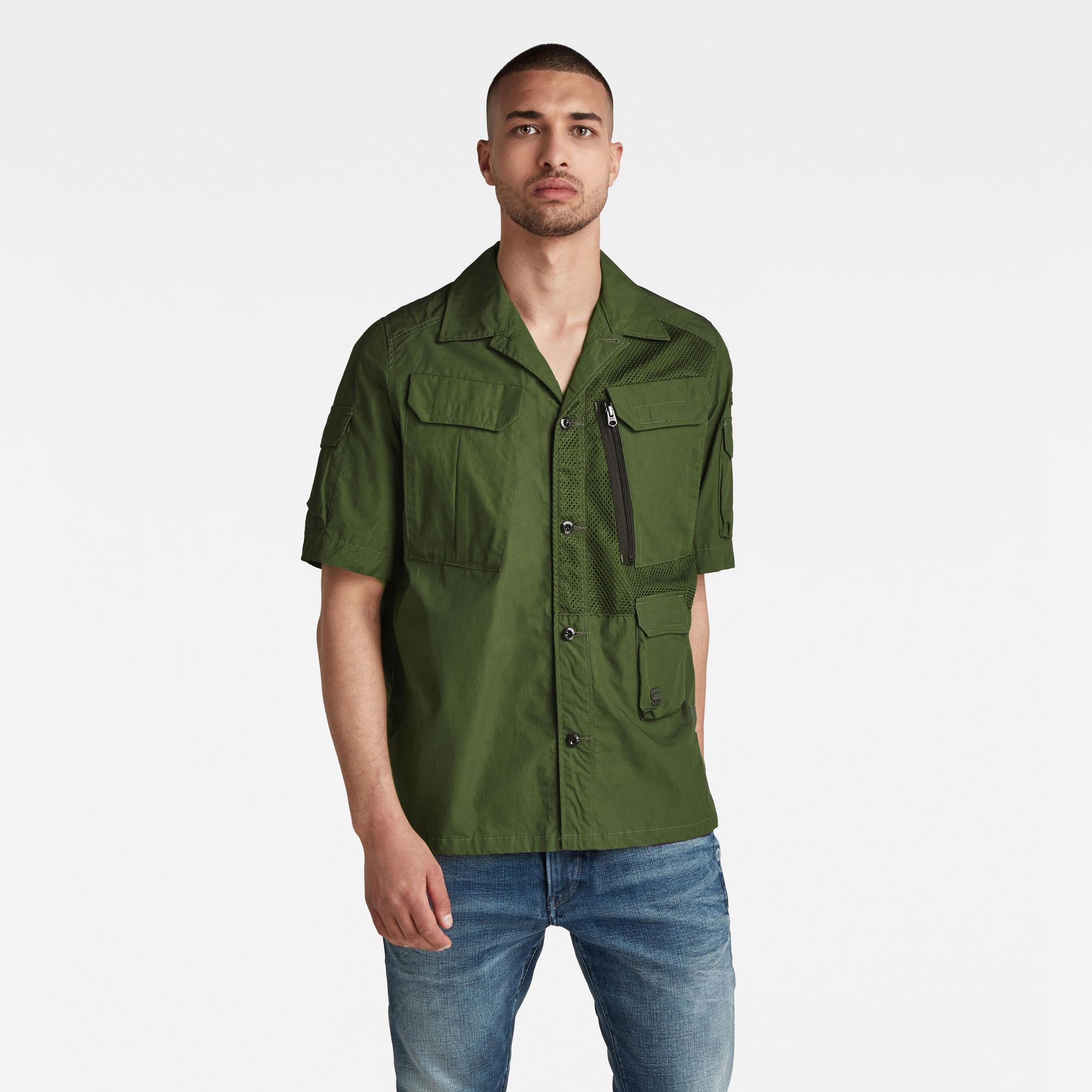 G-Star RAW Heren Utility Poplin Cropped Shirt Groen