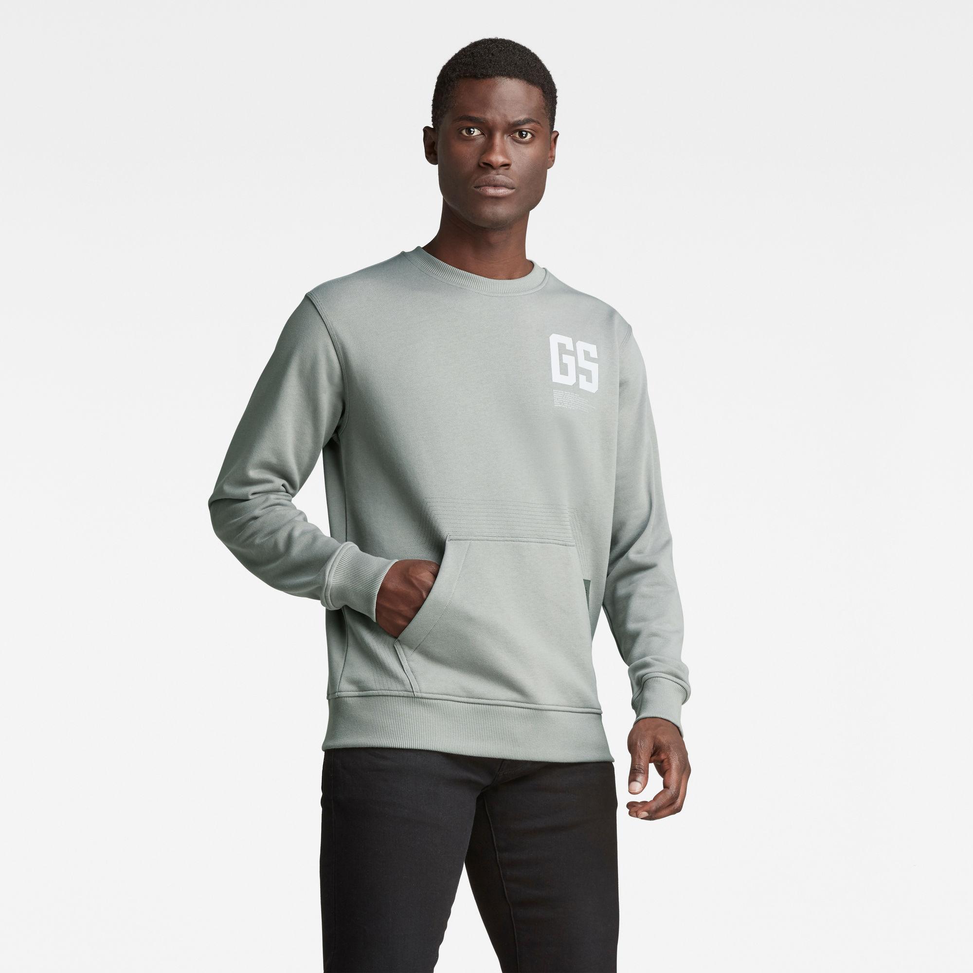 G-Star RAW Heren Stitch Pocket Sweater Grijs