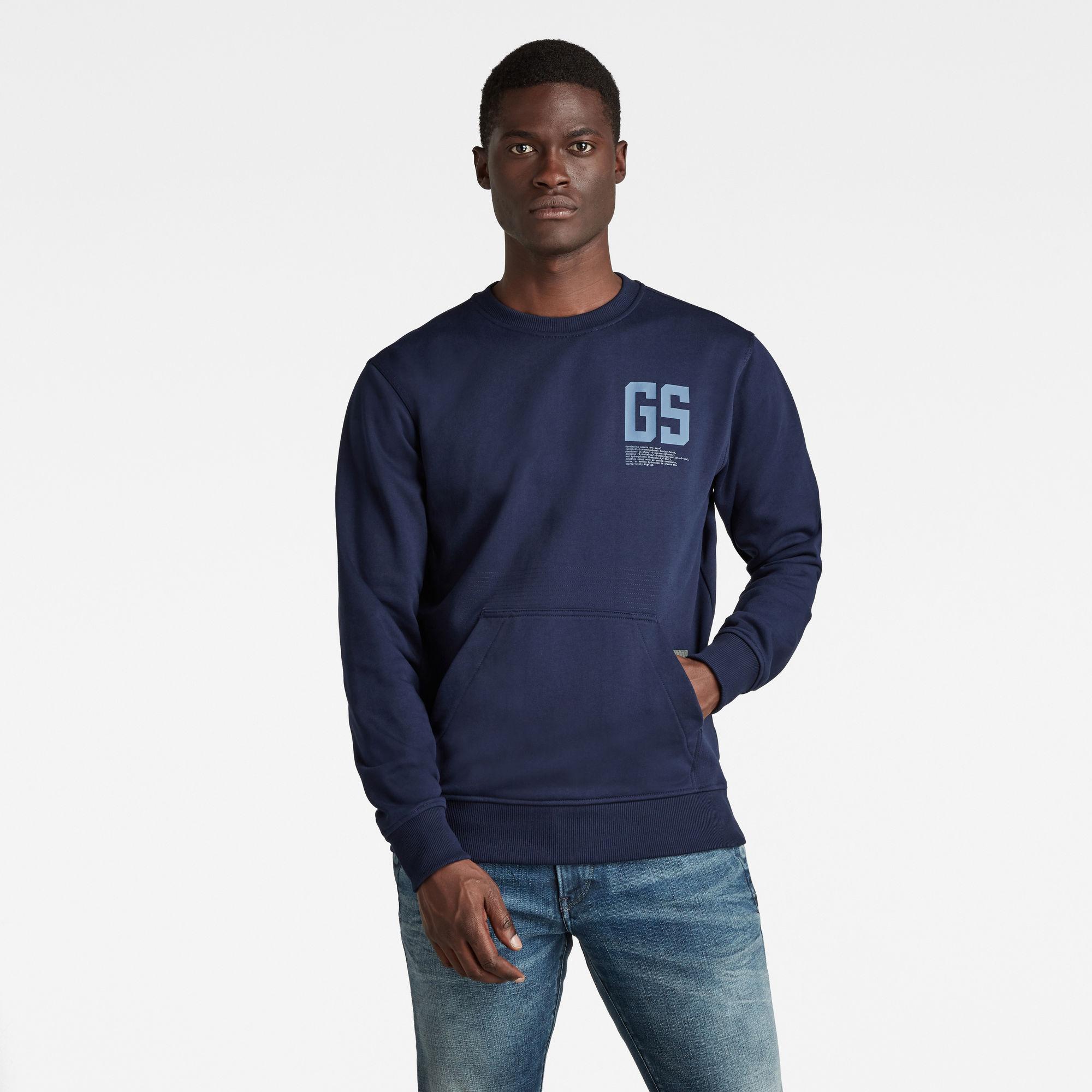 G-Star RAW Heren Stitch Pocket Sweater Donkerblauw