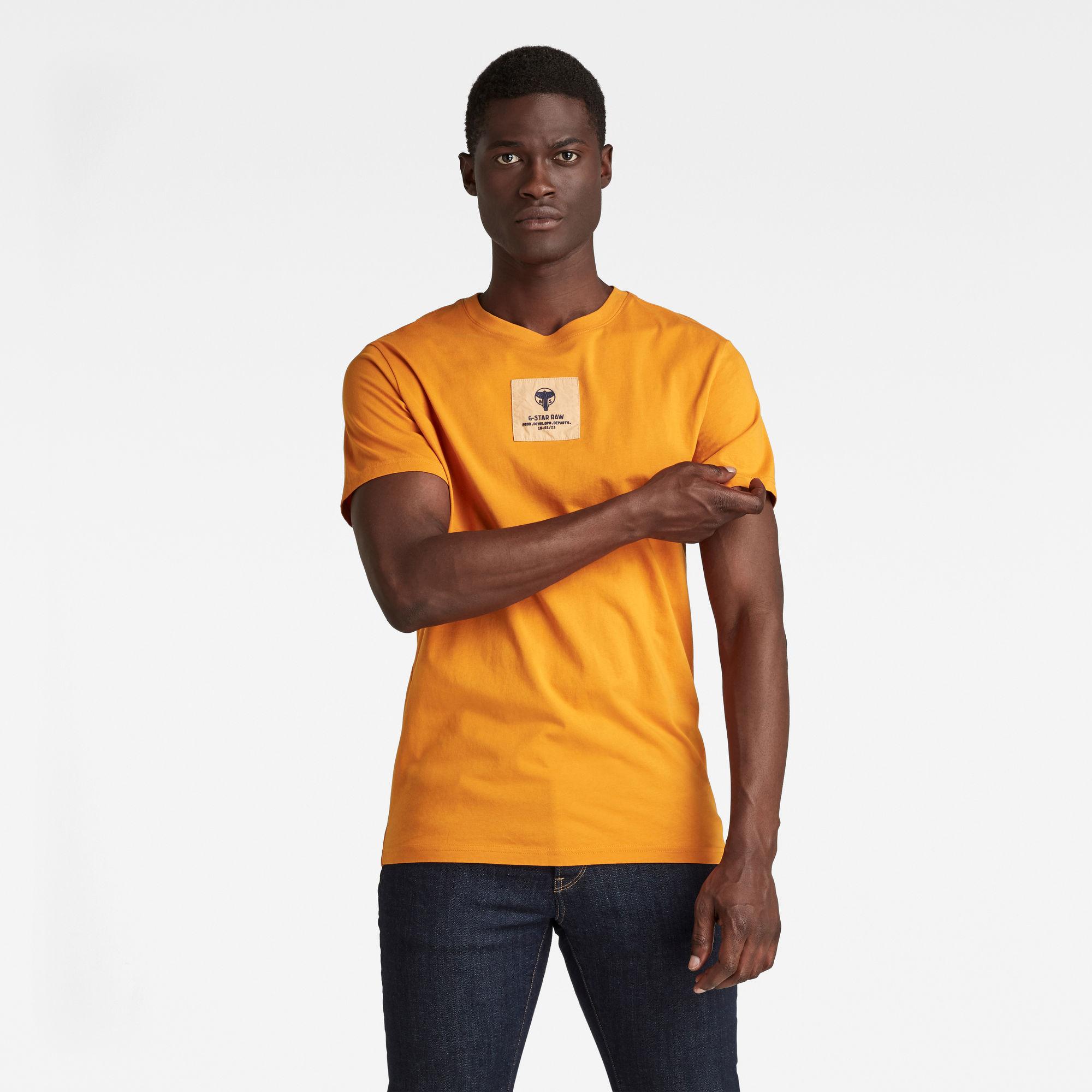 G-Star RAW Heren Center Logo Badge T-Shirt Oranje