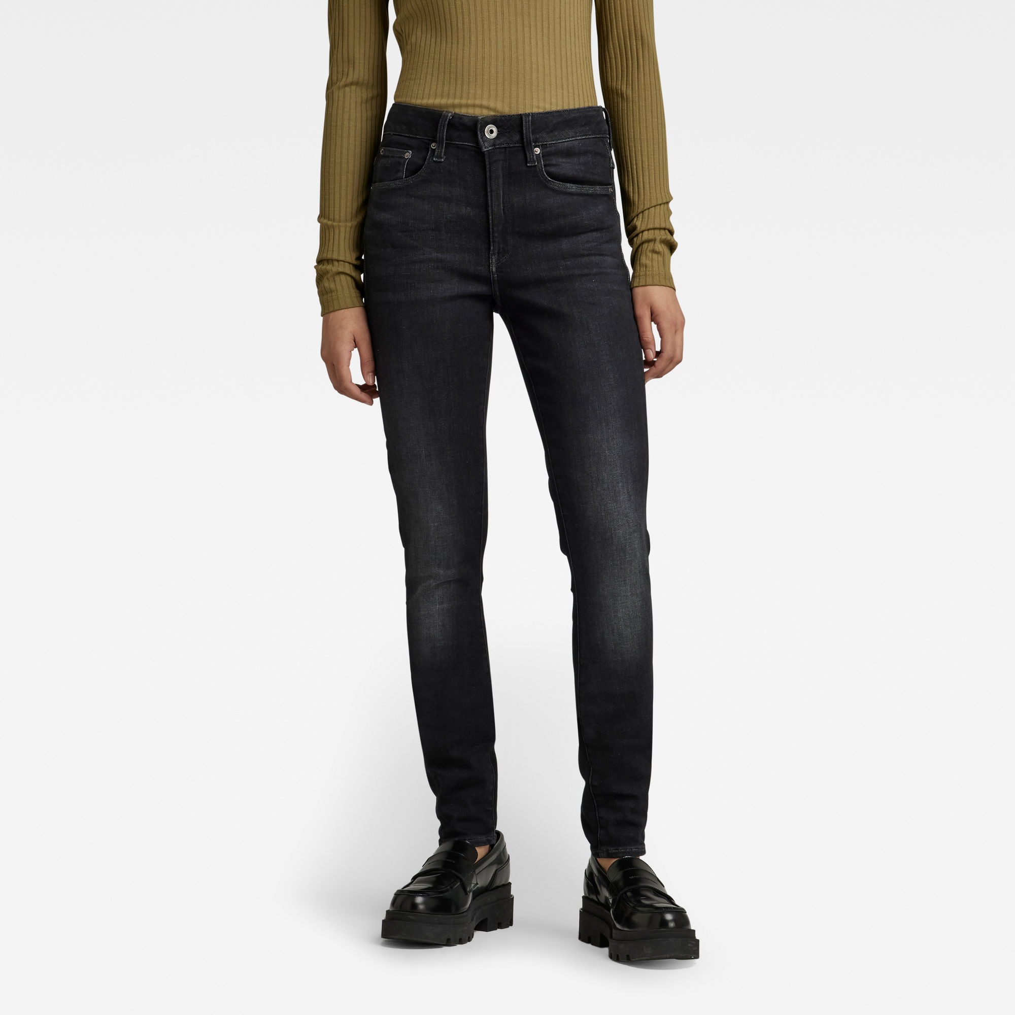G-Star RAW Dames 3301 High Skinny Jeans Zwart