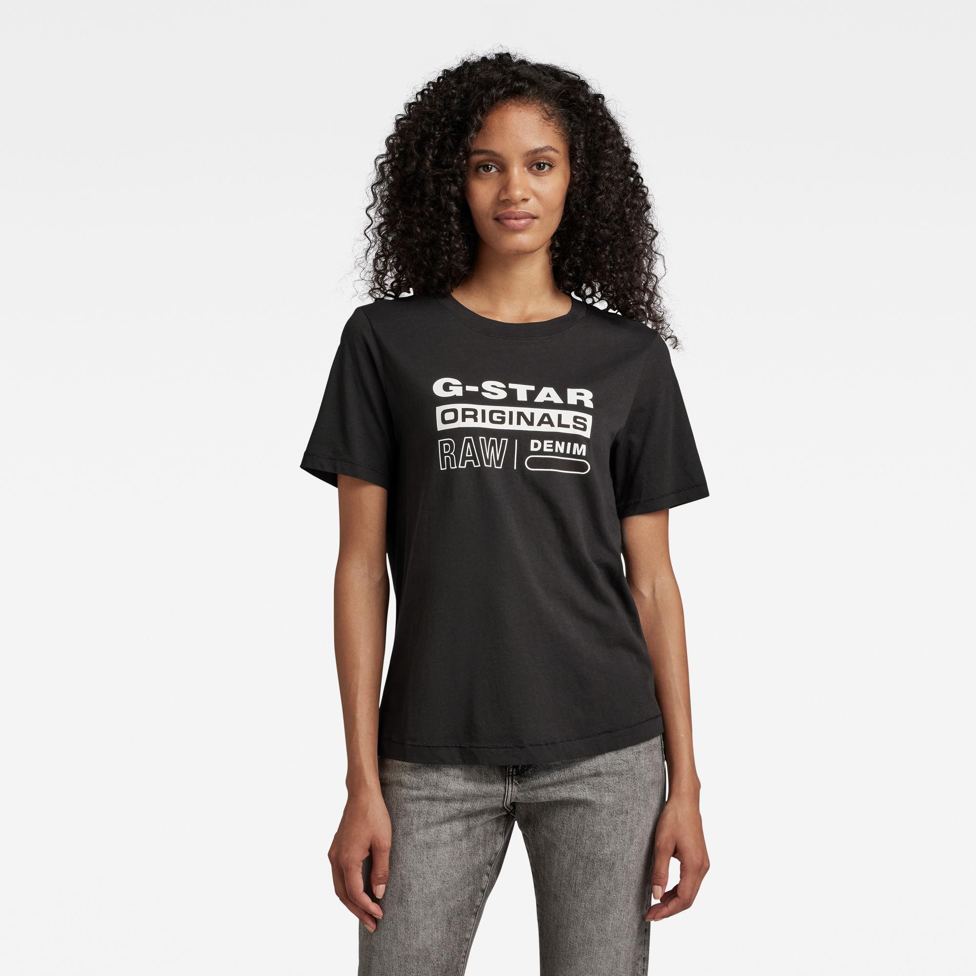 G-Star RAW Dames Originals Label Regular Fit Tee Zwart