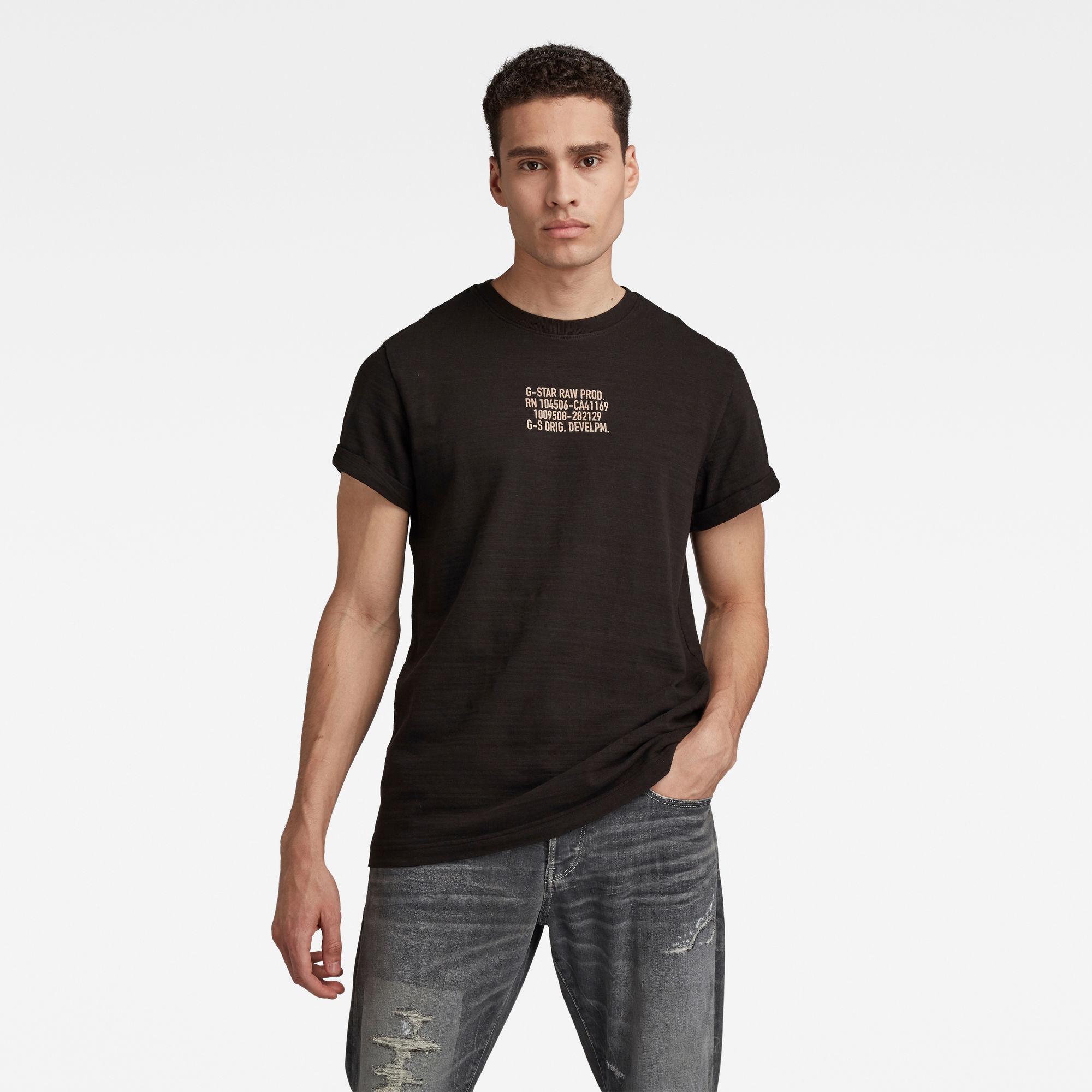 G-Star RAW Heren Chest Text Graphic T-Shirt Zwart