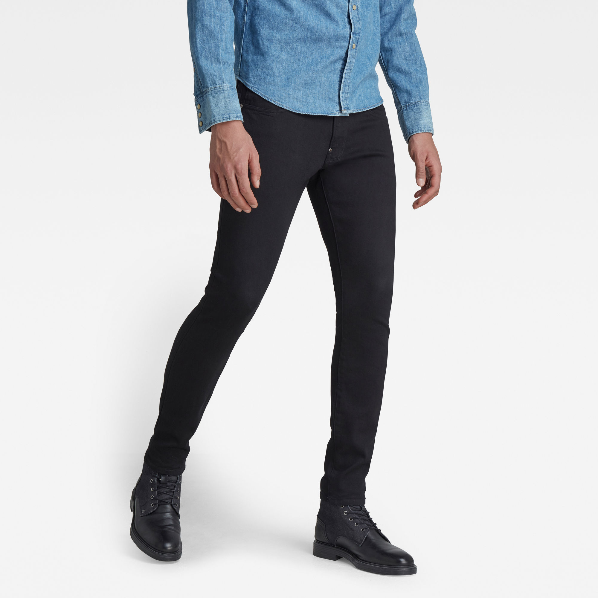 G-Star RAW Heren Revend Skinny Jeans Zwart