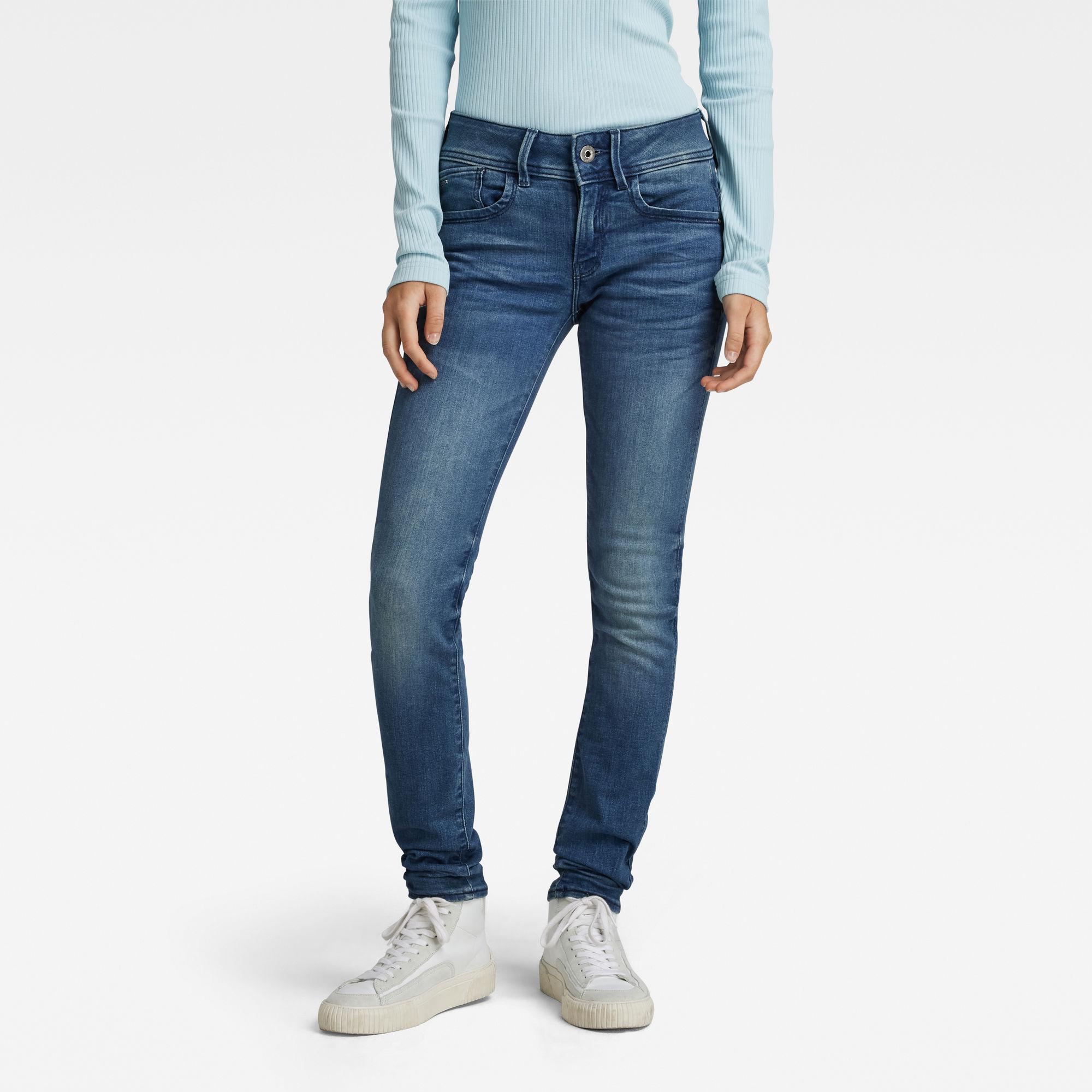 G-Star RAW Dames Lynn Mid Waist Skinny Jeans Blauw