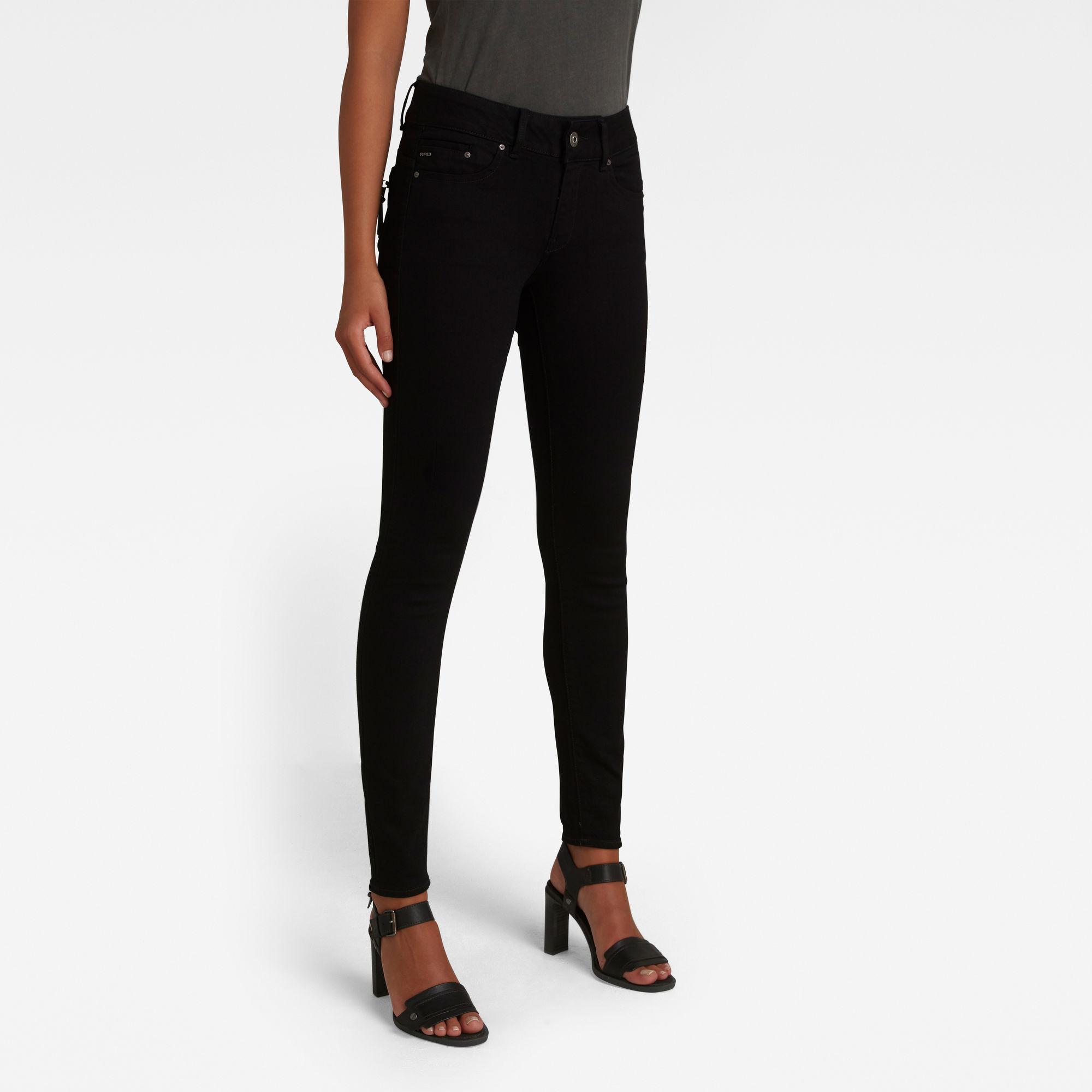 G-Star RAW Dames Midge Cody Mid Skinny Jeans Zwart