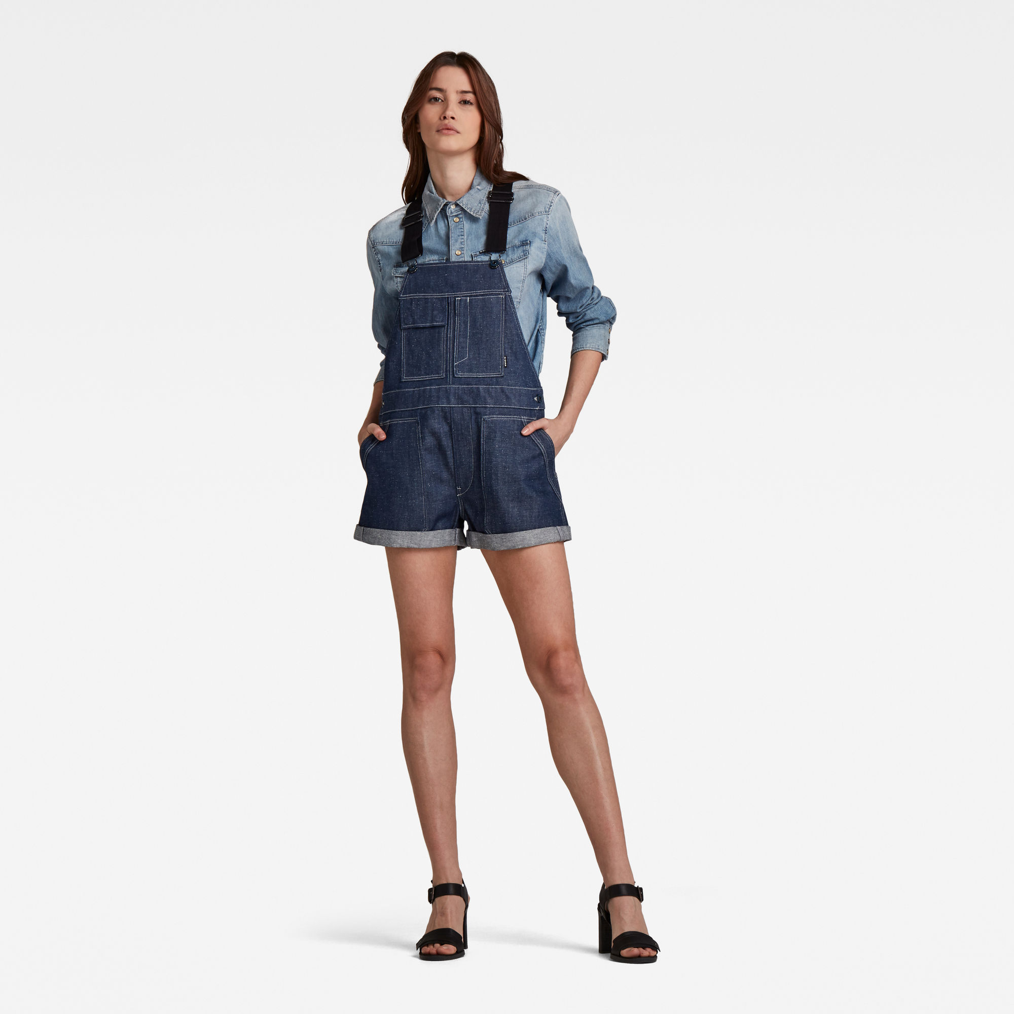 G-Star RAW Dames Overal Utility BF Short Donkerblauw