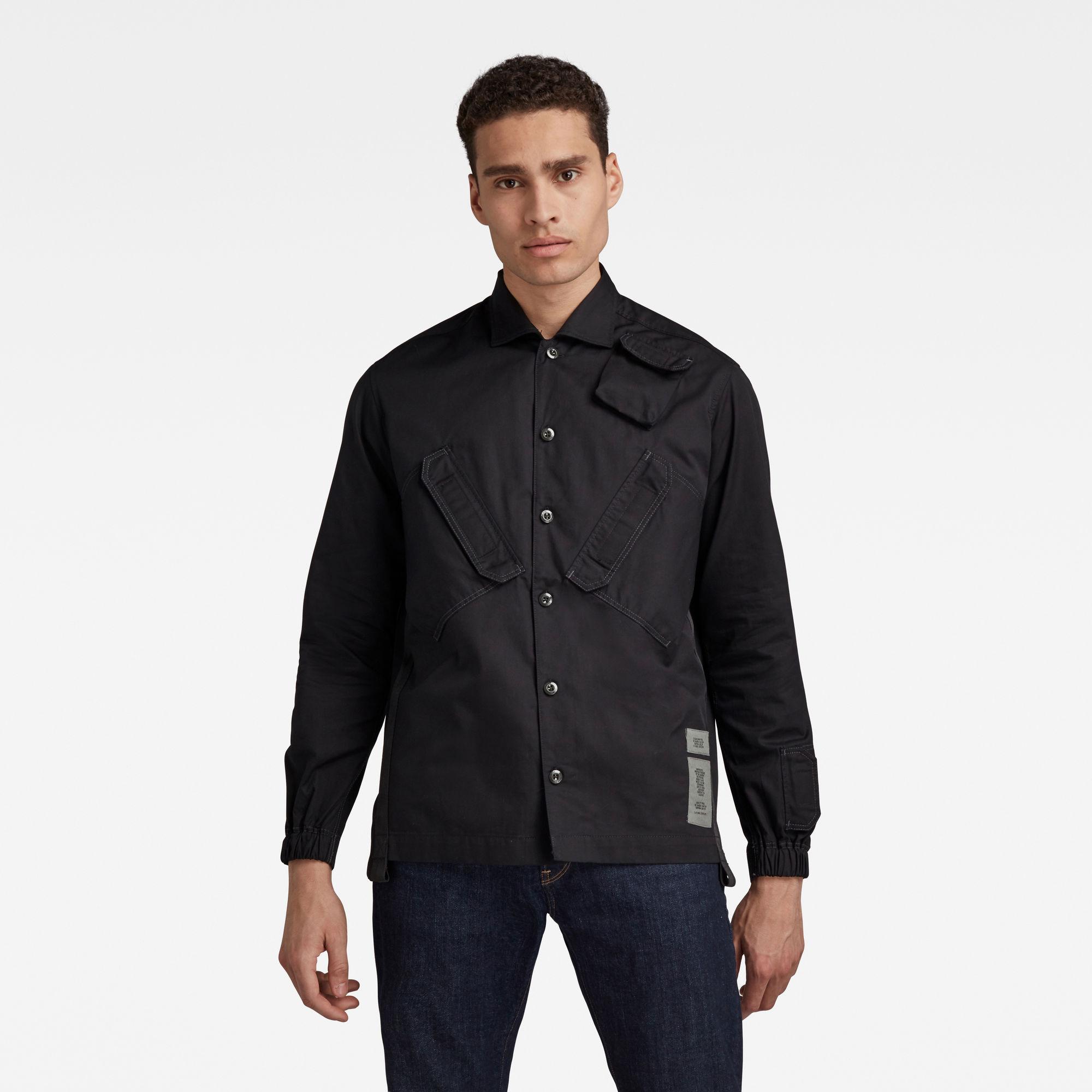 G-Star RAW Heren Multi Slant Pocket Relaxed Shirt Zwart
