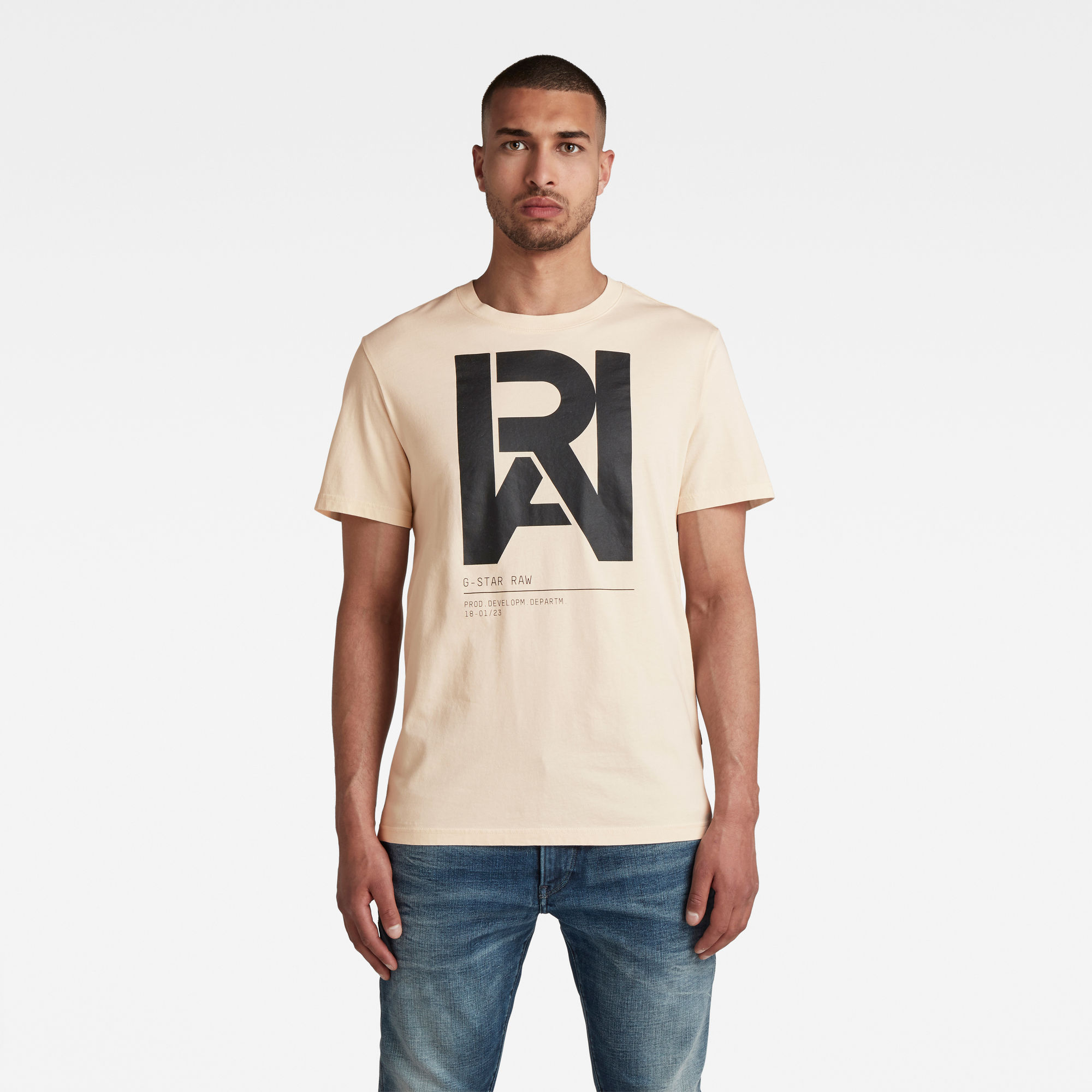 G-Star RAW Heren Graphic RAW T-Shirt Beige