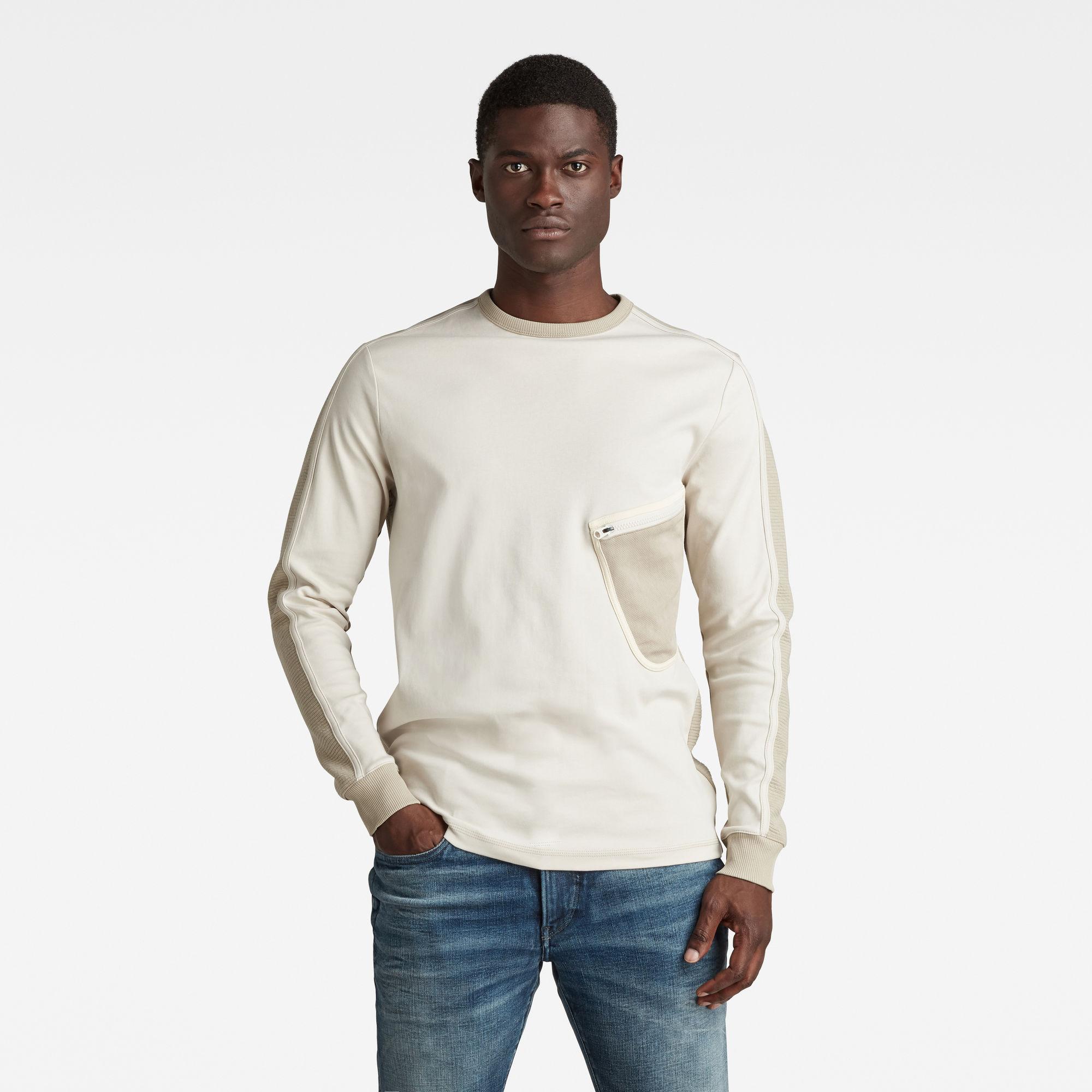 G-Star RAW Heren Mesh Pocket Tweeter T-Shirt Beige