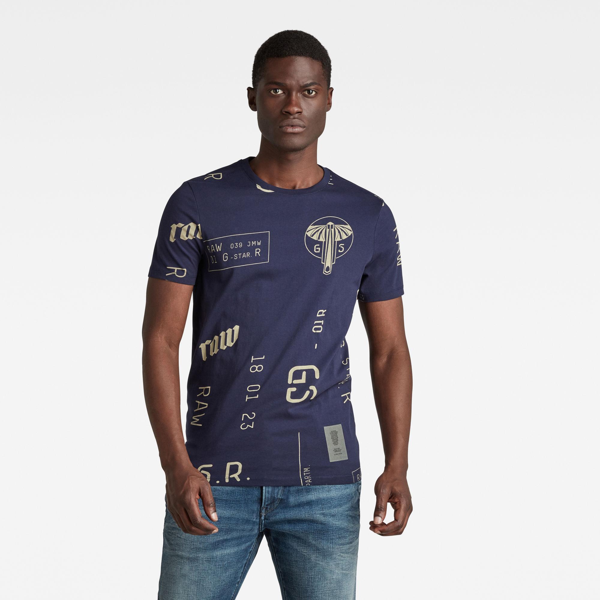 G-Star RAW Heren Graphics Allover Slim T-Shirt Meerkleurig
