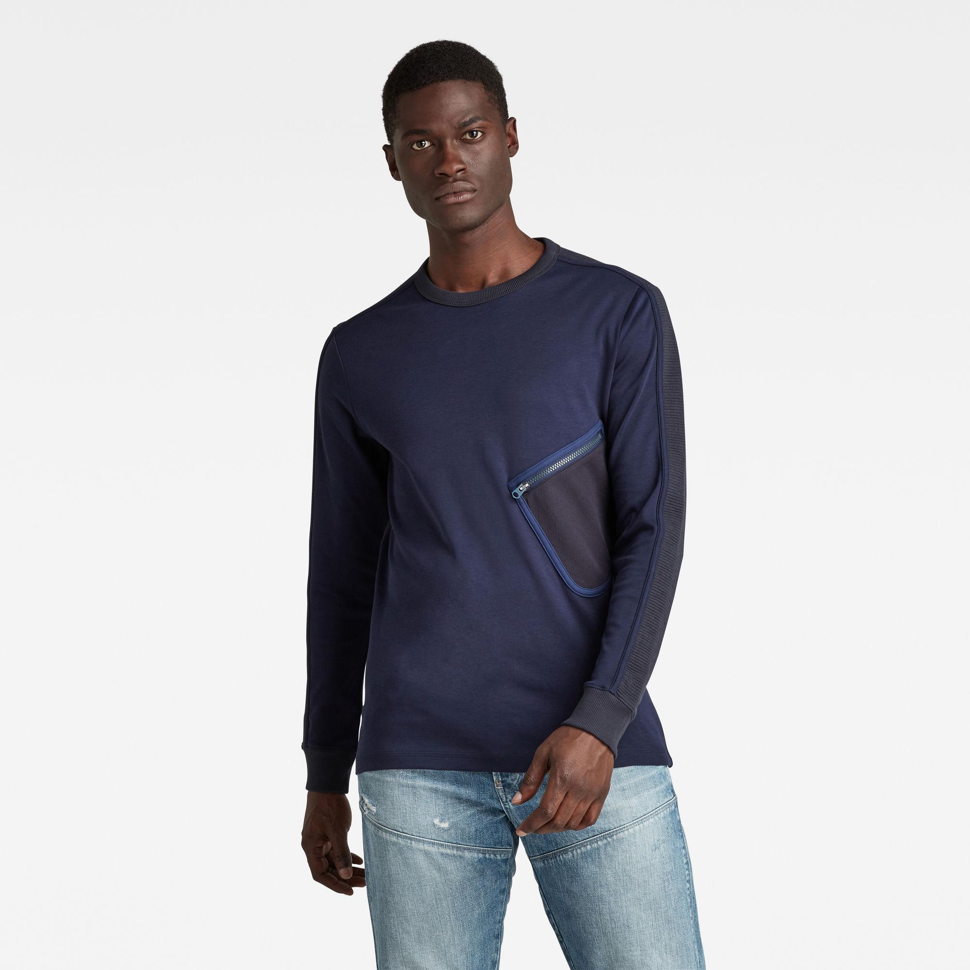 G-Star RAW Heren Mesh Pocket Tweeter T-Shirt Donkerblauw