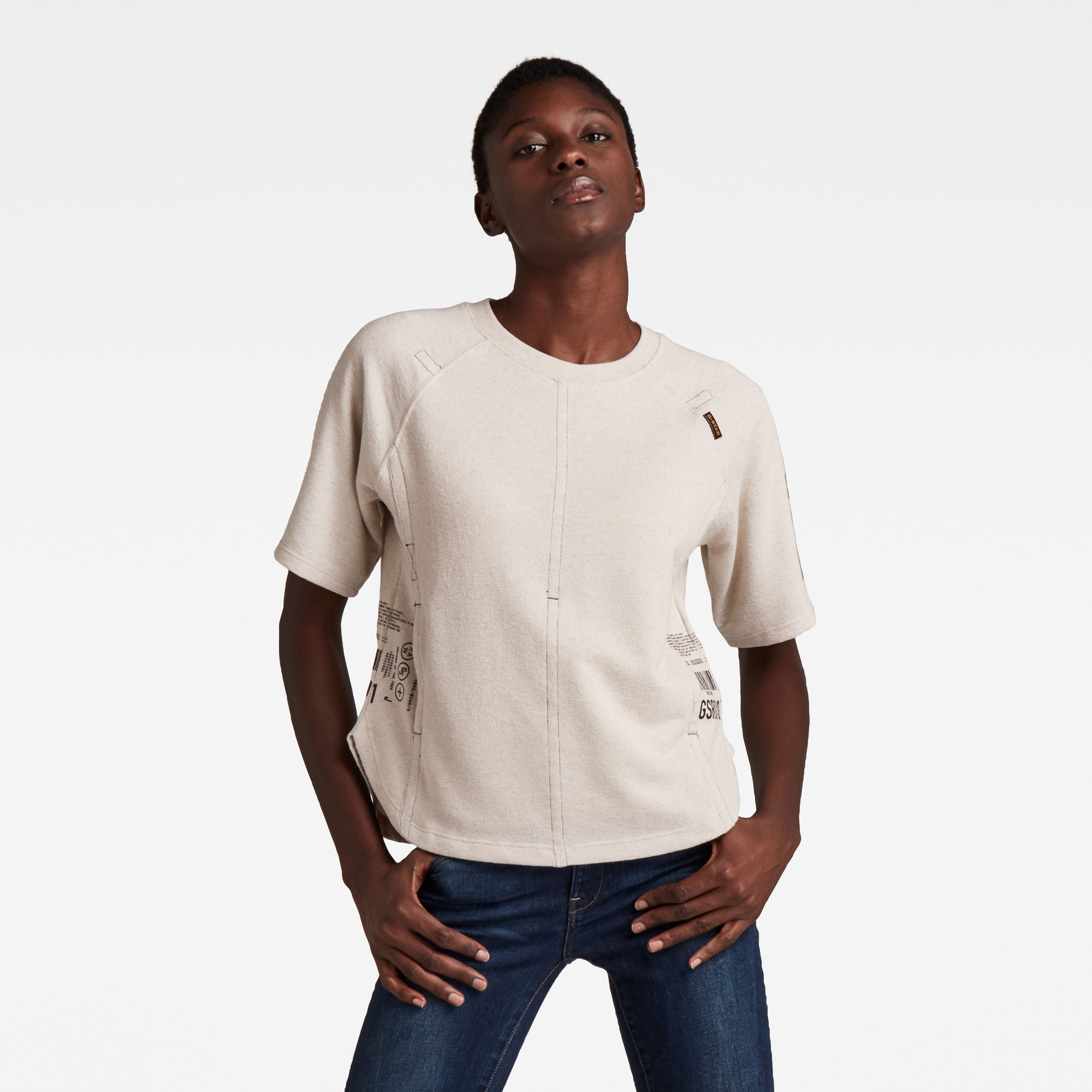 G-Star RAW Dames Small Graphics 1/2 Sleeve Tweater Beige