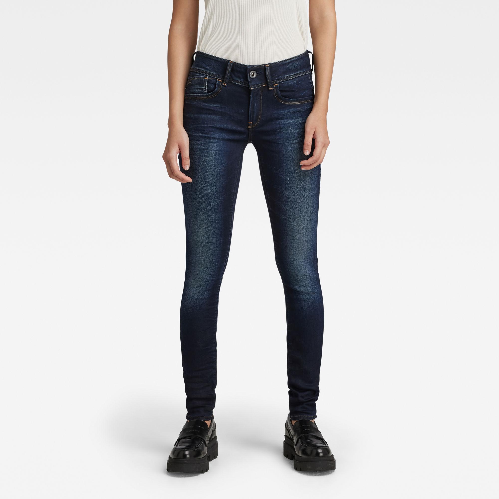 G-Star RAW Dames Lynn Mid Waist Skinny Jeans Donkerblauw