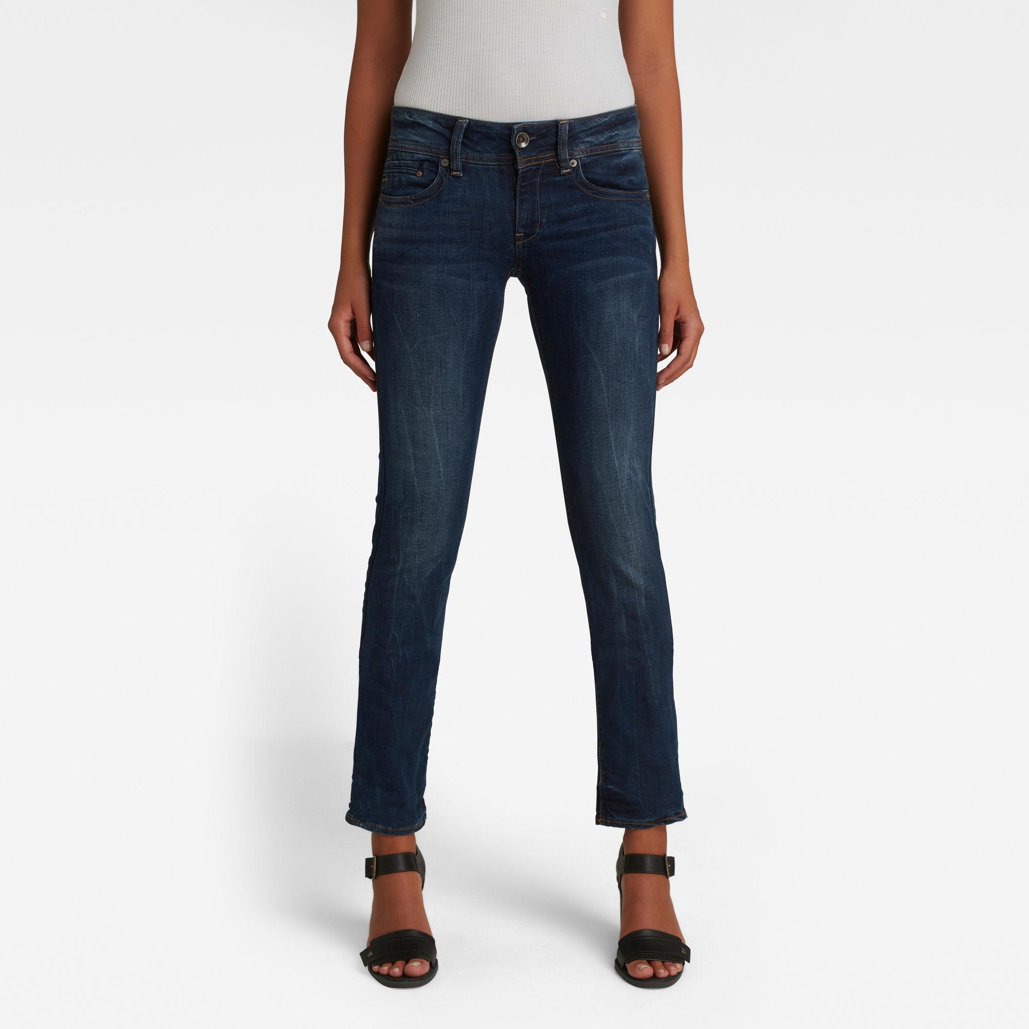 G-Star RAW Dames Midge Saddle Straight Jeans Donkerblauw