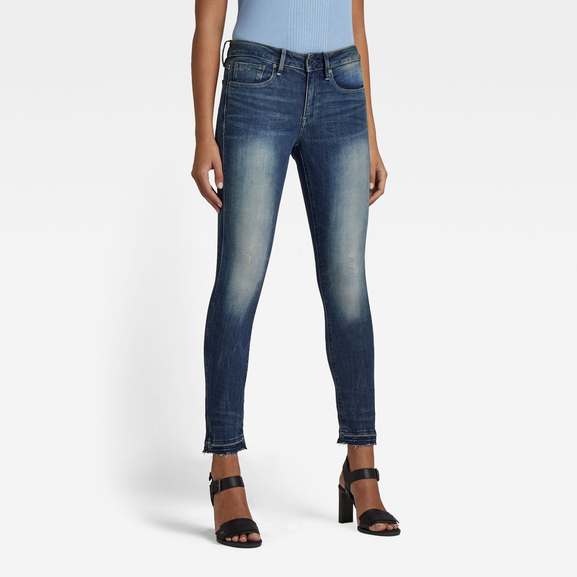 G-Star RAW Dames 3301 Mid Skinny Ankle Jeans Blauw