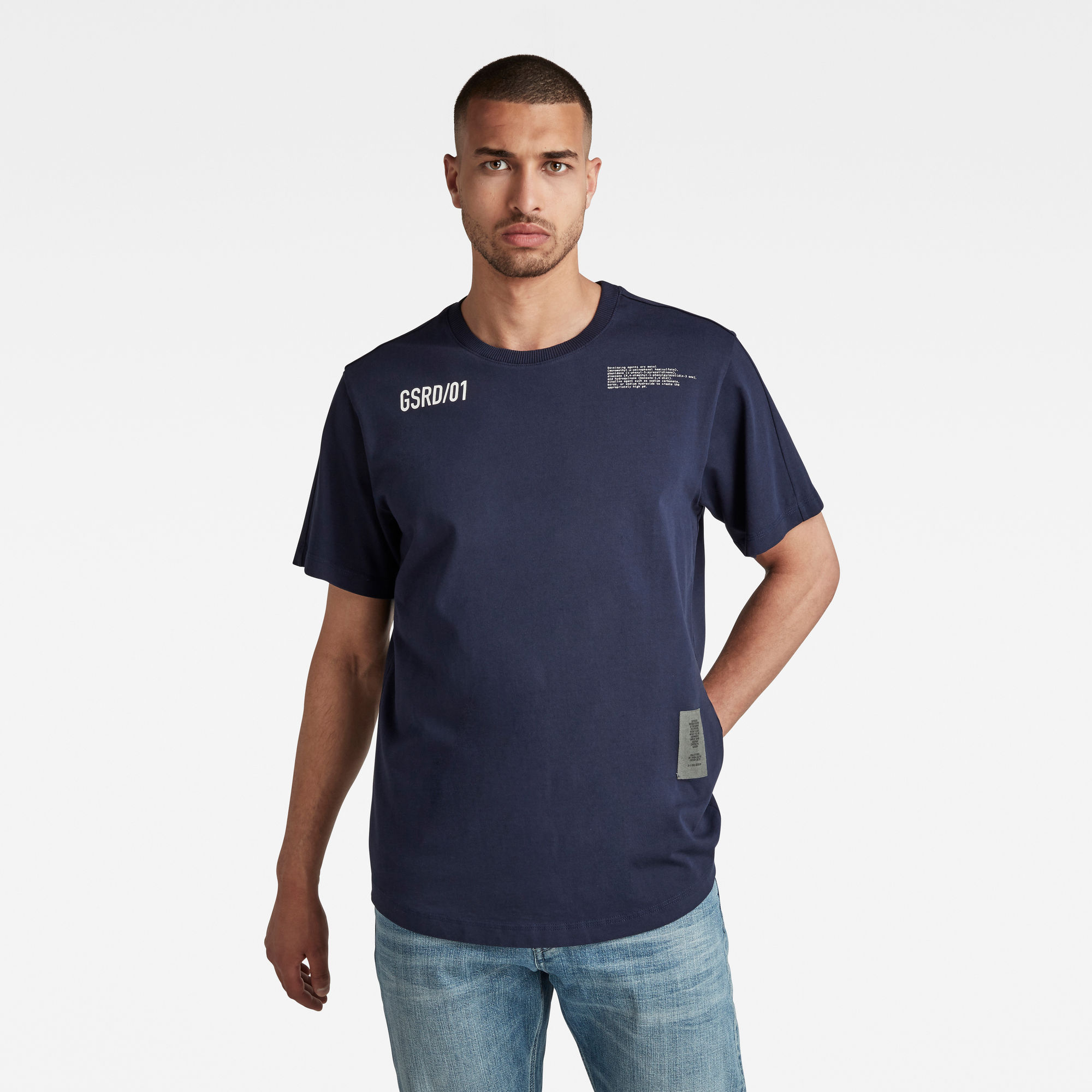 G-Star RAW Heren C&S Back Multi Graphic Loose T-Shirt Donkerblauw